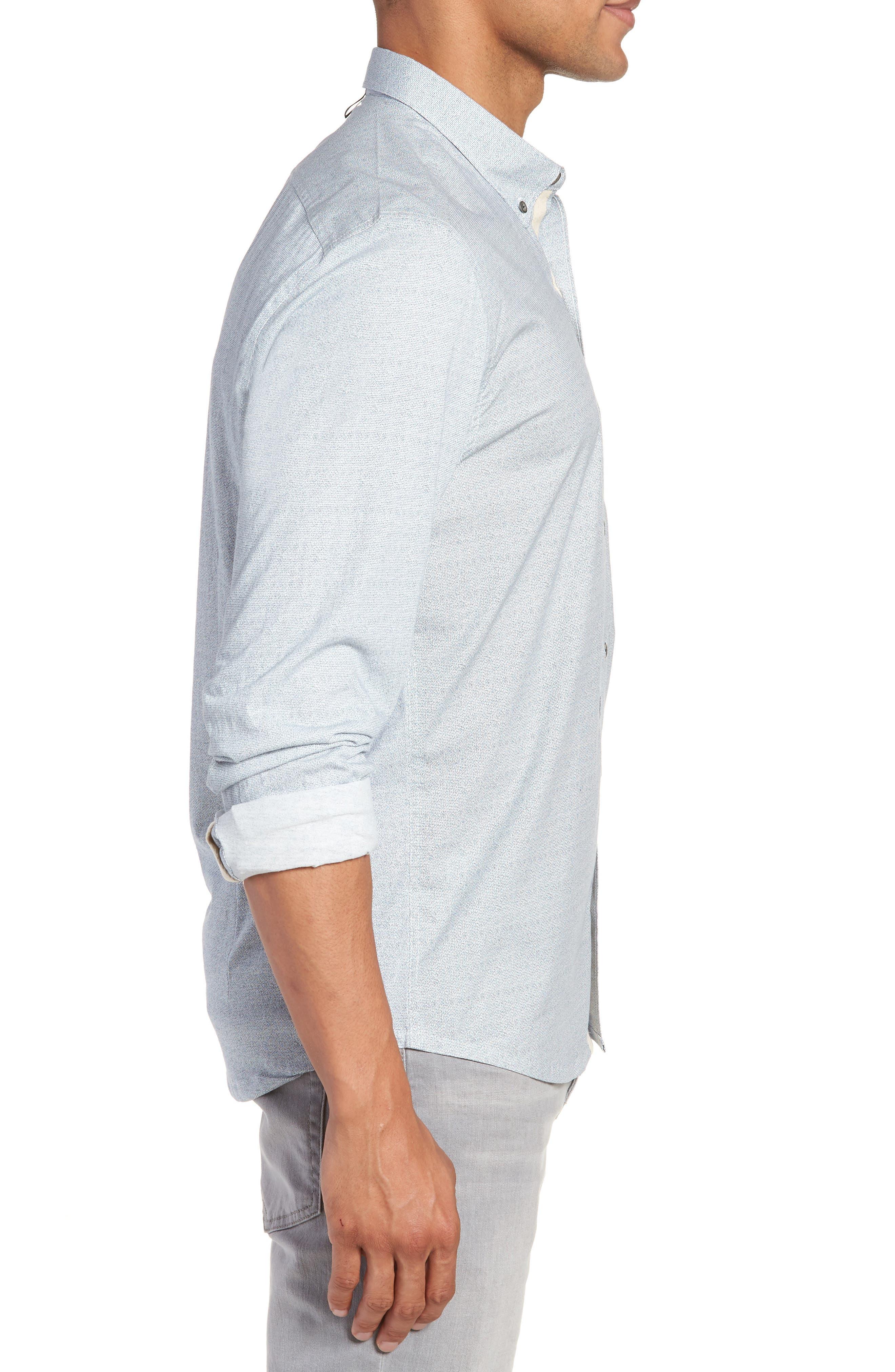 Reworked Slim Fit Speckled Sport Shirt,                             Alternate thumbnail 3, color,                             Blue