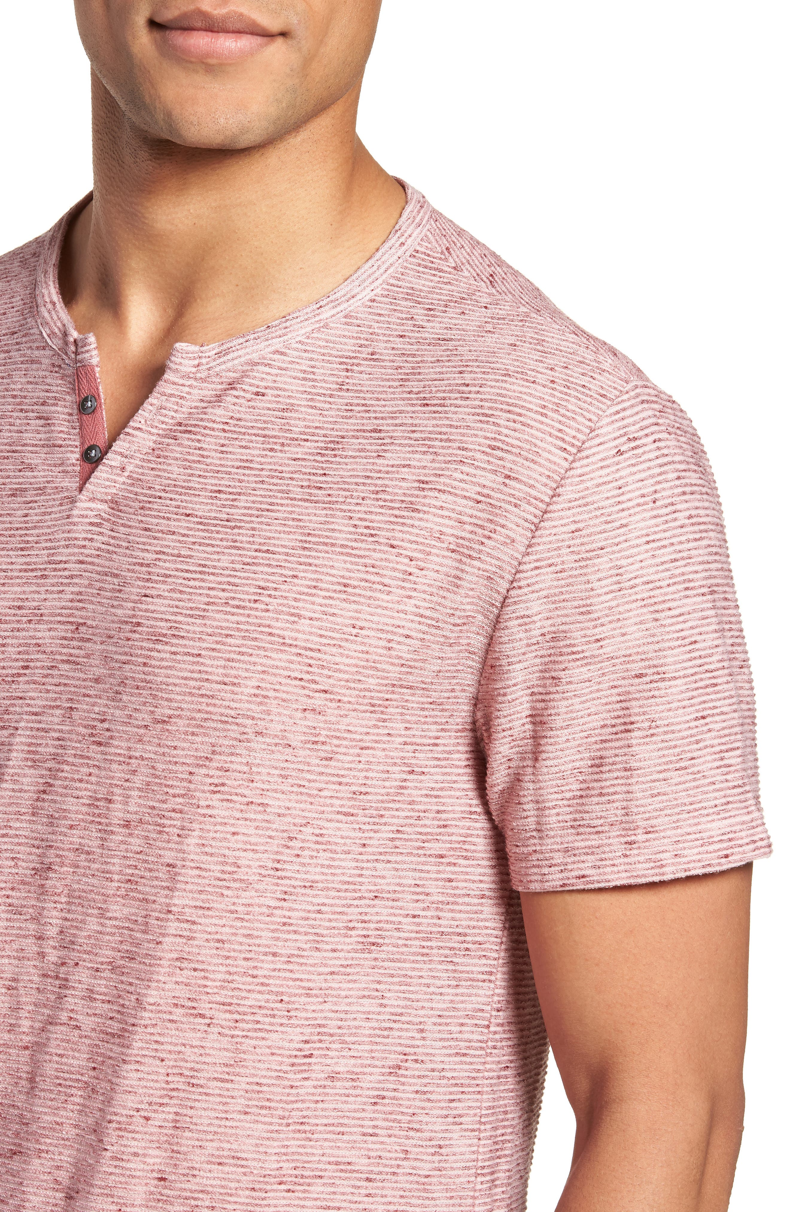 Metro Textured Henley Shirt,                             Alternate thumbnail 4, color,                             Red