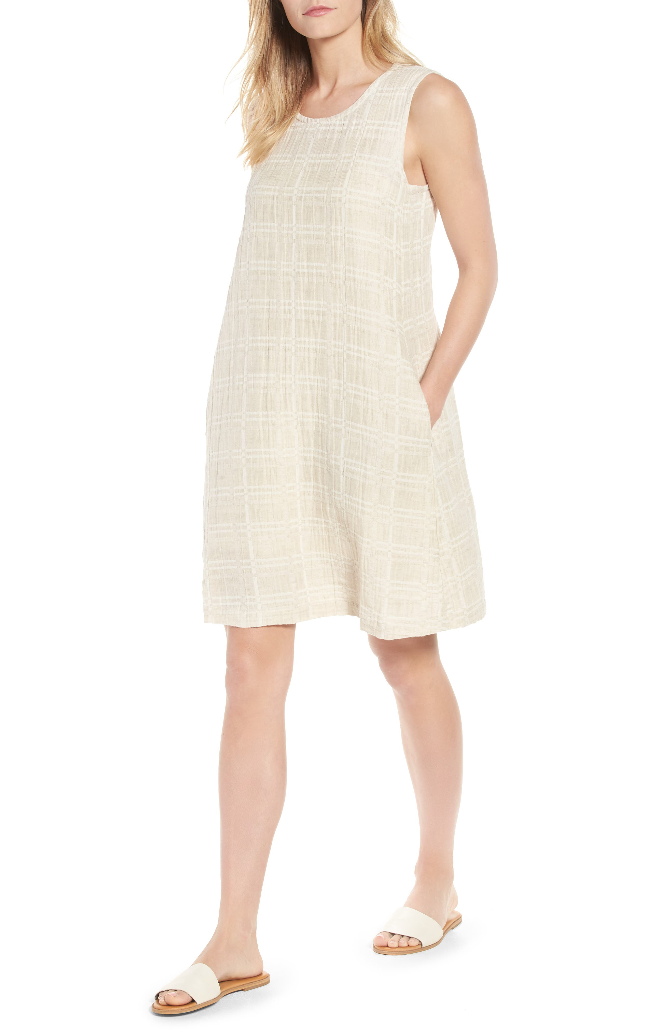 Eileen Fisher Organic Cotton & Linen Shift Dress (Regular & Petite)
