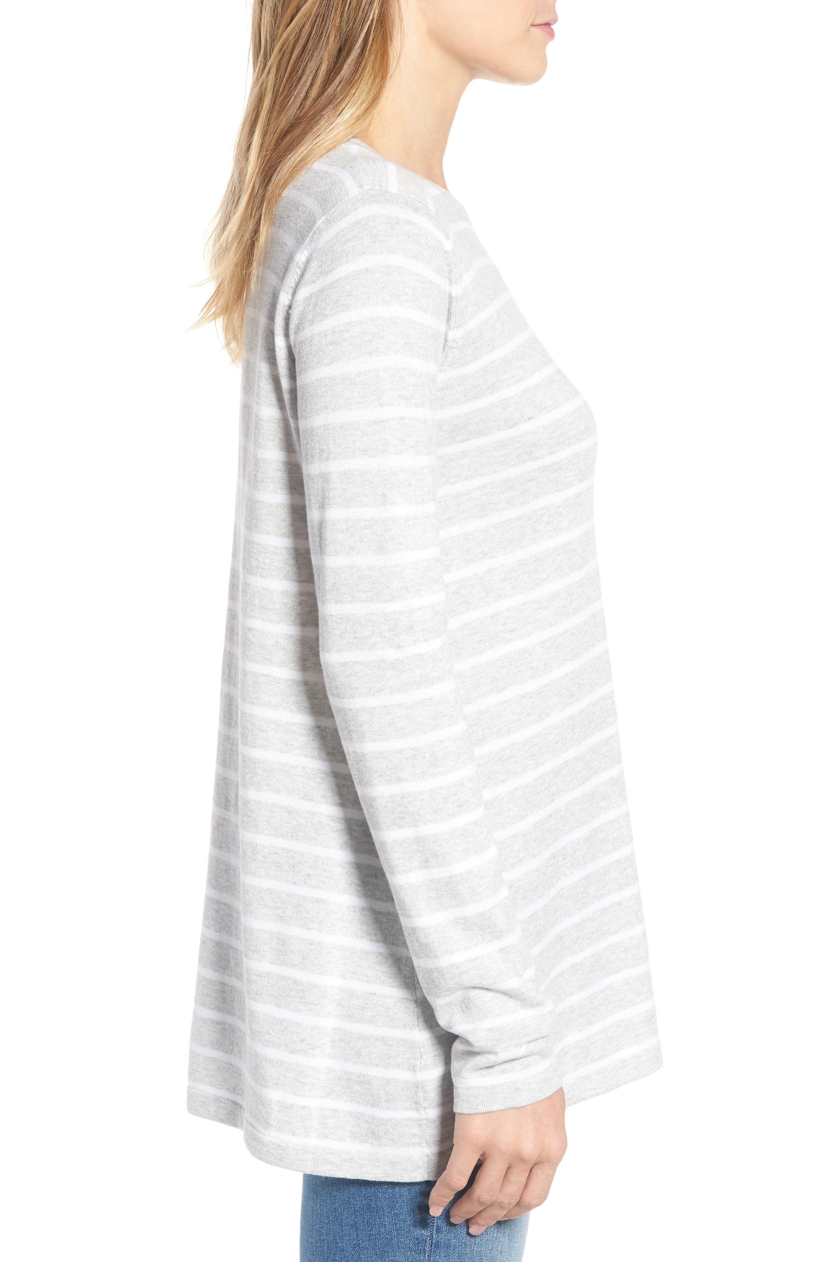 Cotton Blend Stripe Trapeze Cotton Blend Sweater,                             Alternate thumbnail 3, color,                             Pebble Grey Mix Warm White
