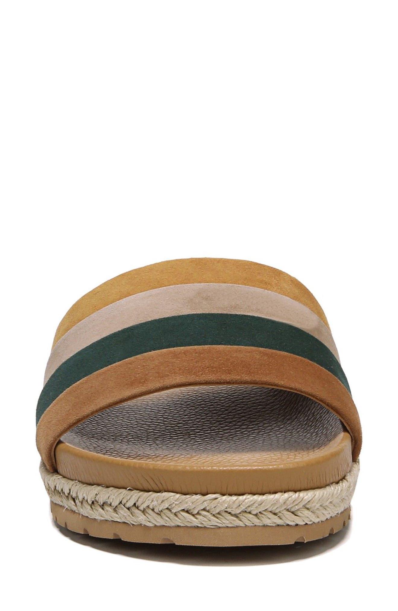 Alisa Striped Slide Sandal,                             Alternate thumbnail 4, color,                             Cedar Multi