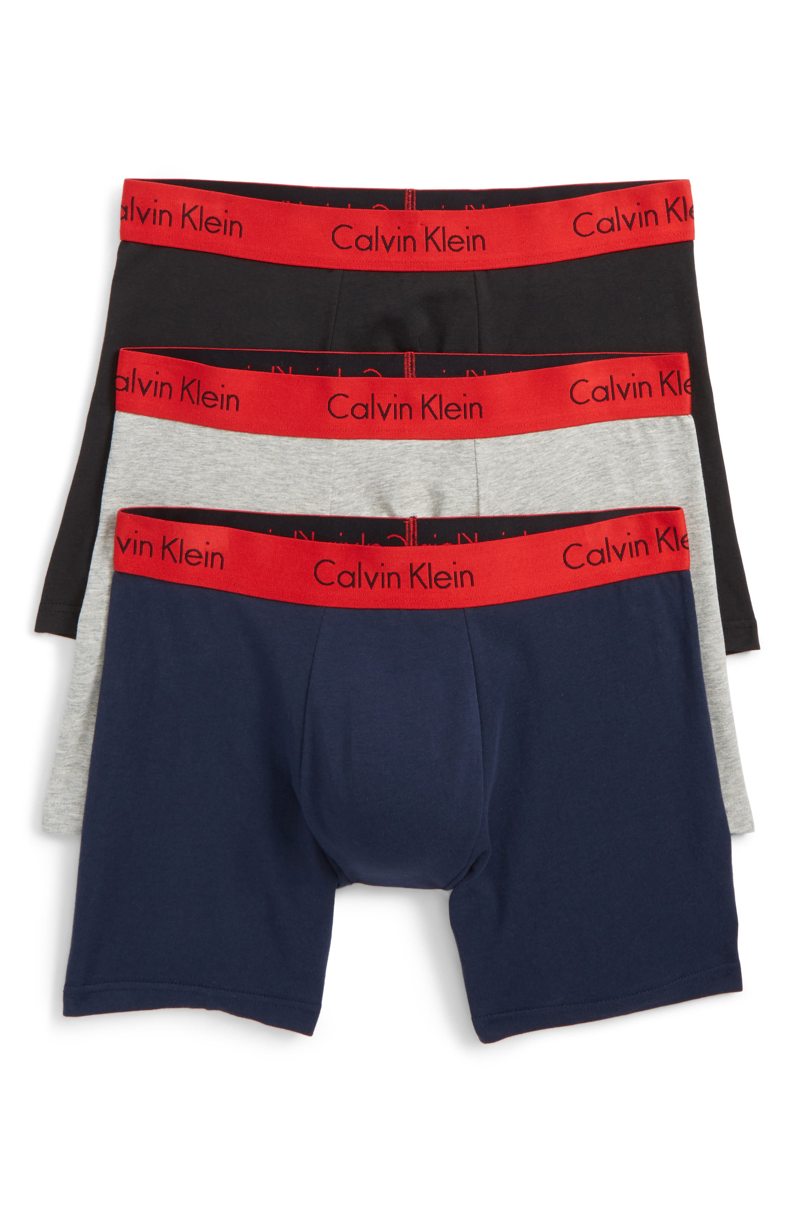 3-Pack Boxer Briefs,                         Main,                         color, Black/ Grey/ Blue/ Red Band