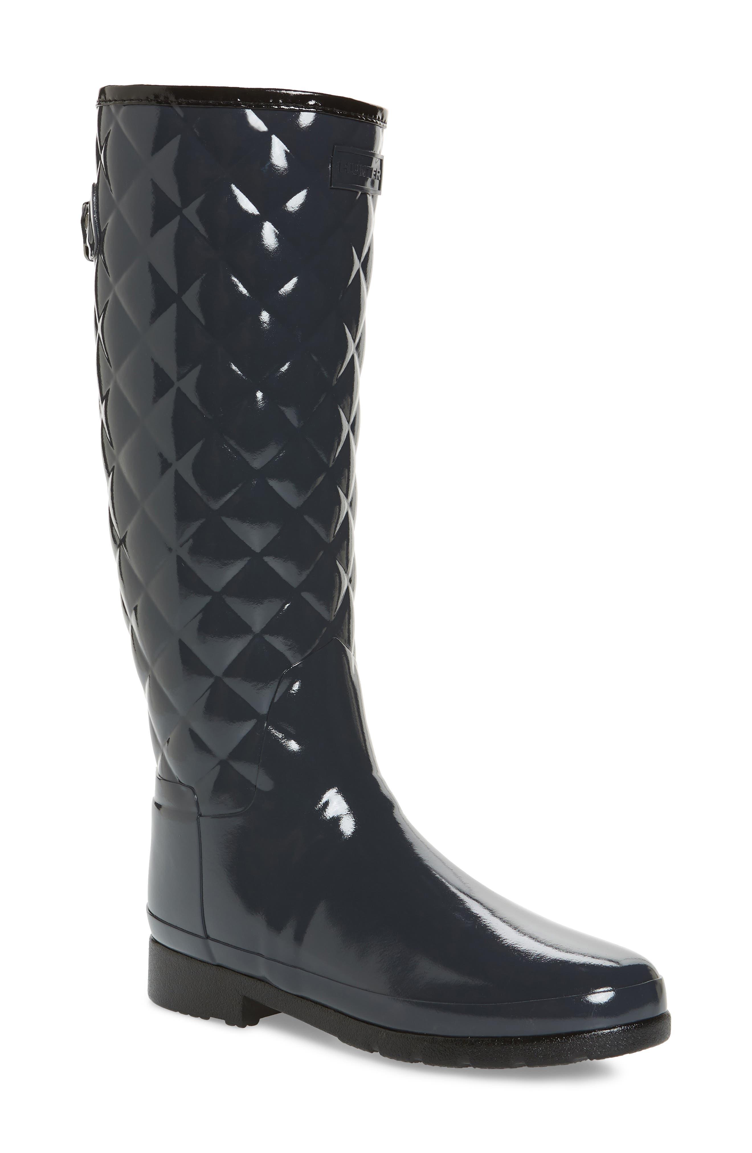 Original Refined High Gloss Quilted Rain Boot,                             Main thumbnail 1, color,                             Dark Slate