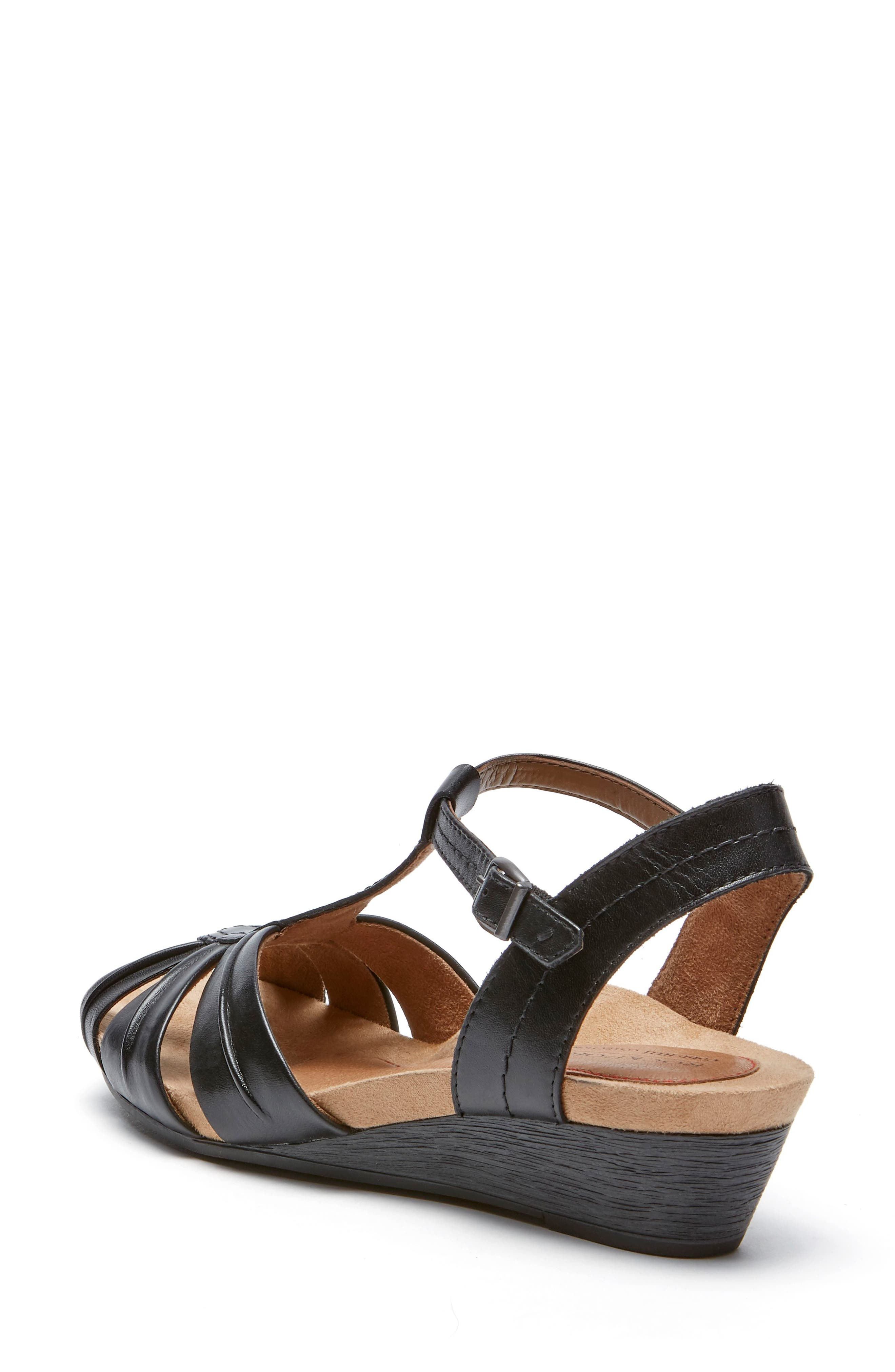 Hollywood Pleat Wedge Sandal,                             Alternate thumbnail 2, color,                             Black Leather