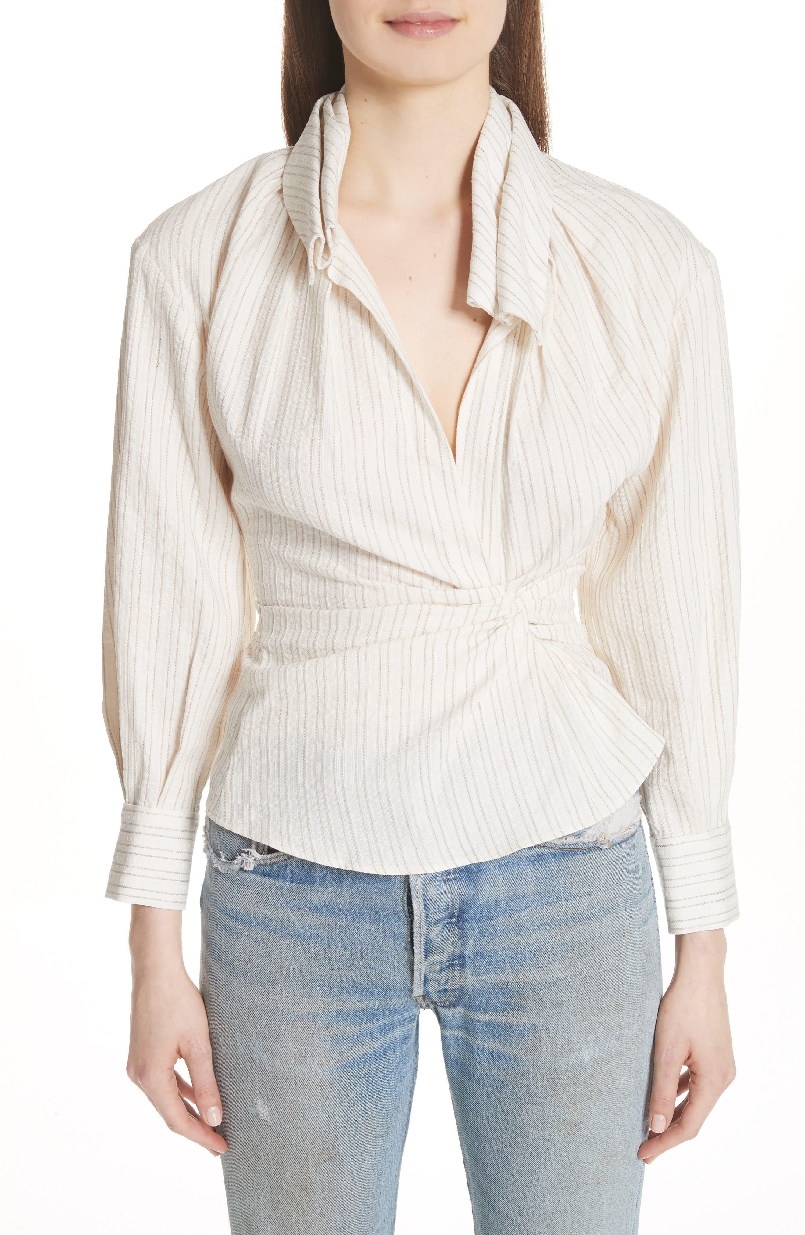 La Chemise Belem Shirt,                         Main,                         color, Beige Striped