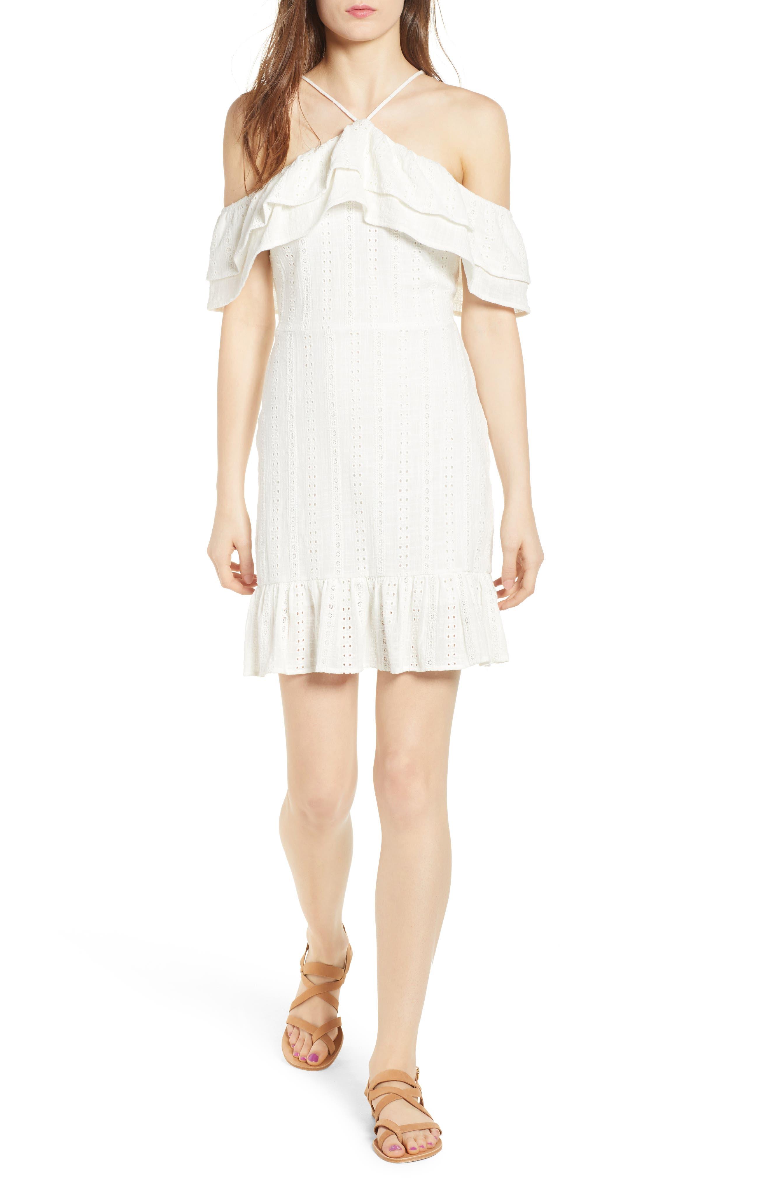 Daisy Eyelet Minidress,                             Main thumbnail 1, color,                             White