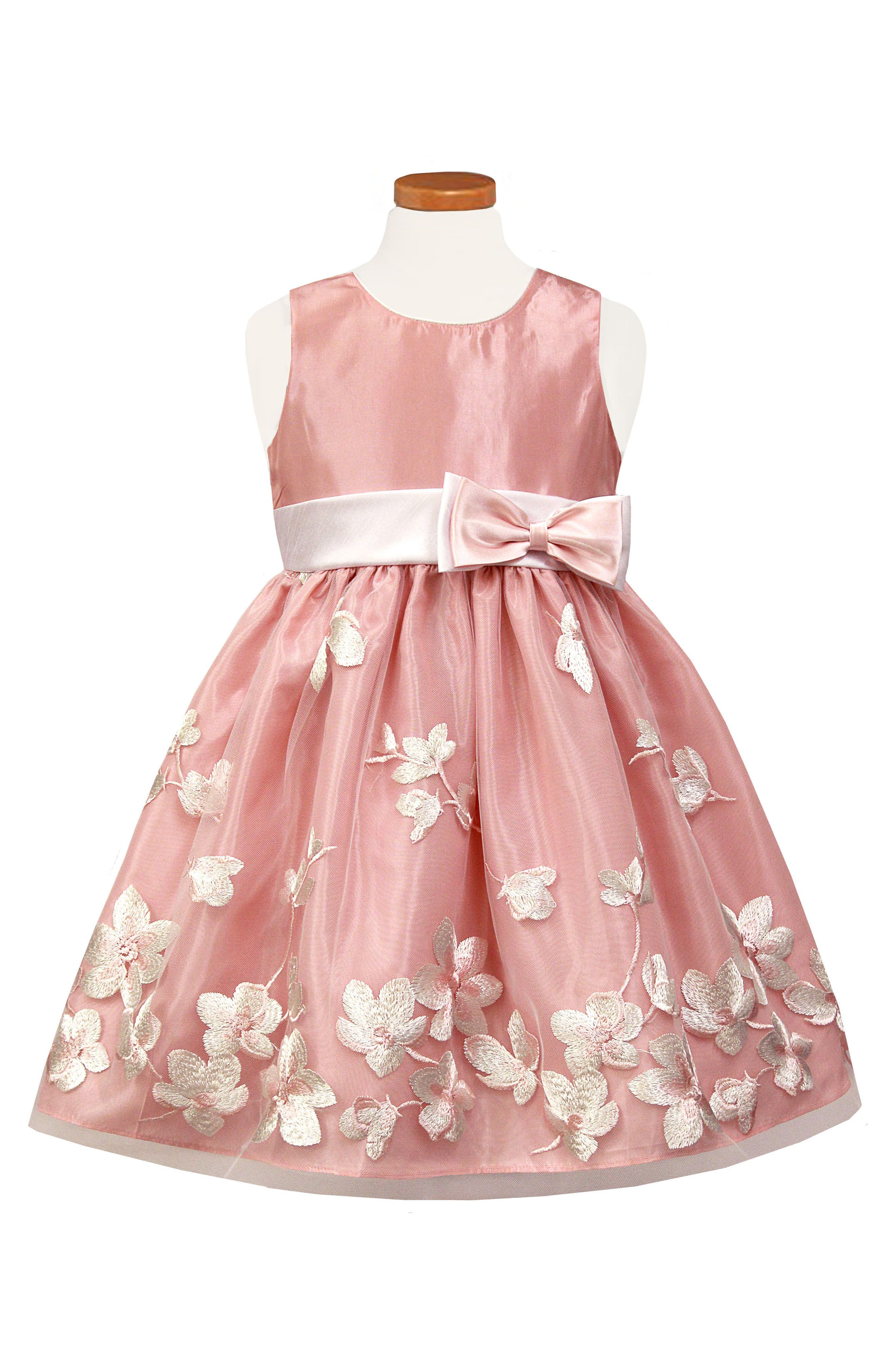 Embroidered Floral Tulle Party Dress,                             Main thumbnail 1, color,                             Rose