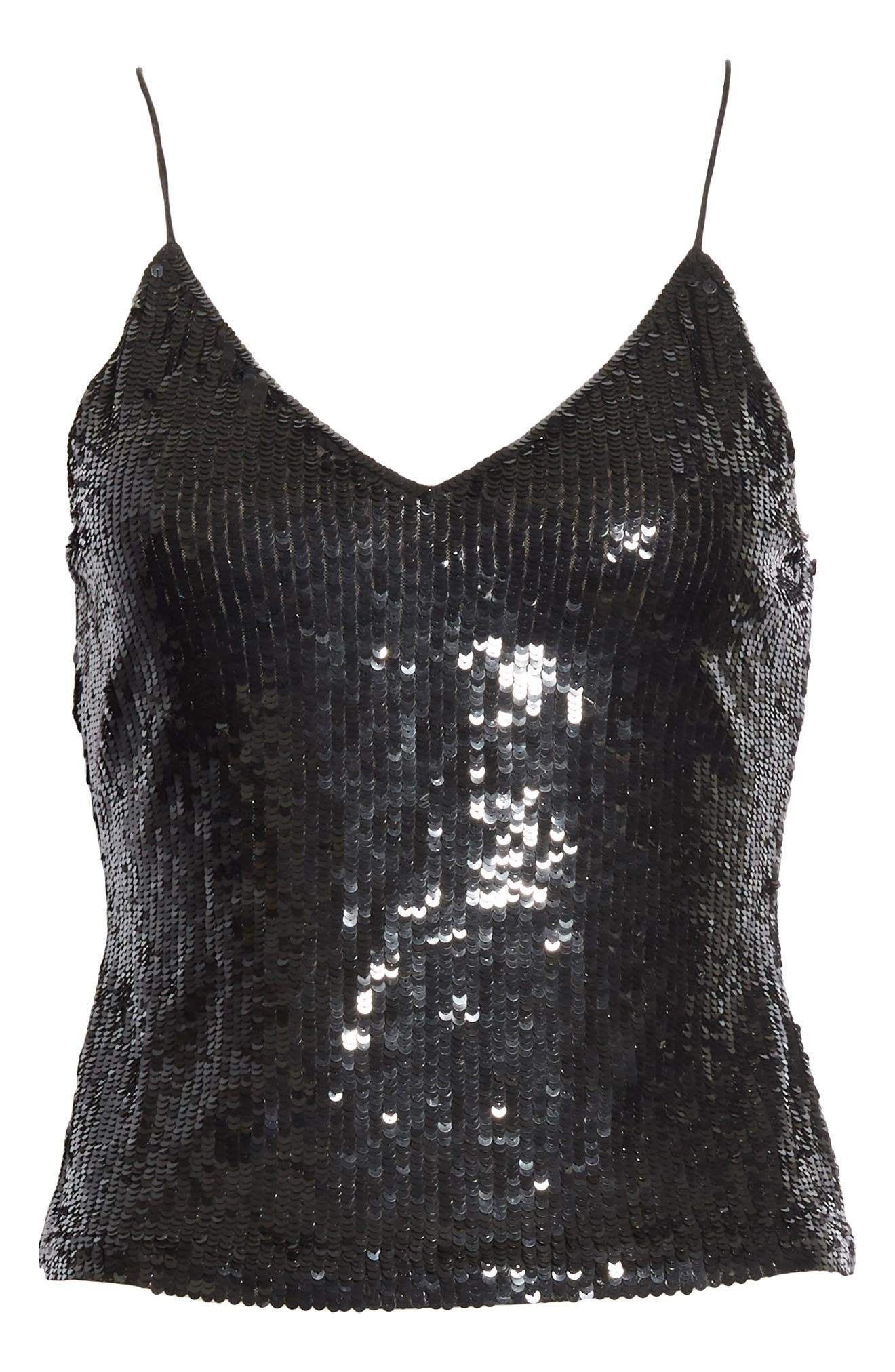 Delray Sequin Camisole,                             Alternate thumbnail 6, color,                             Black