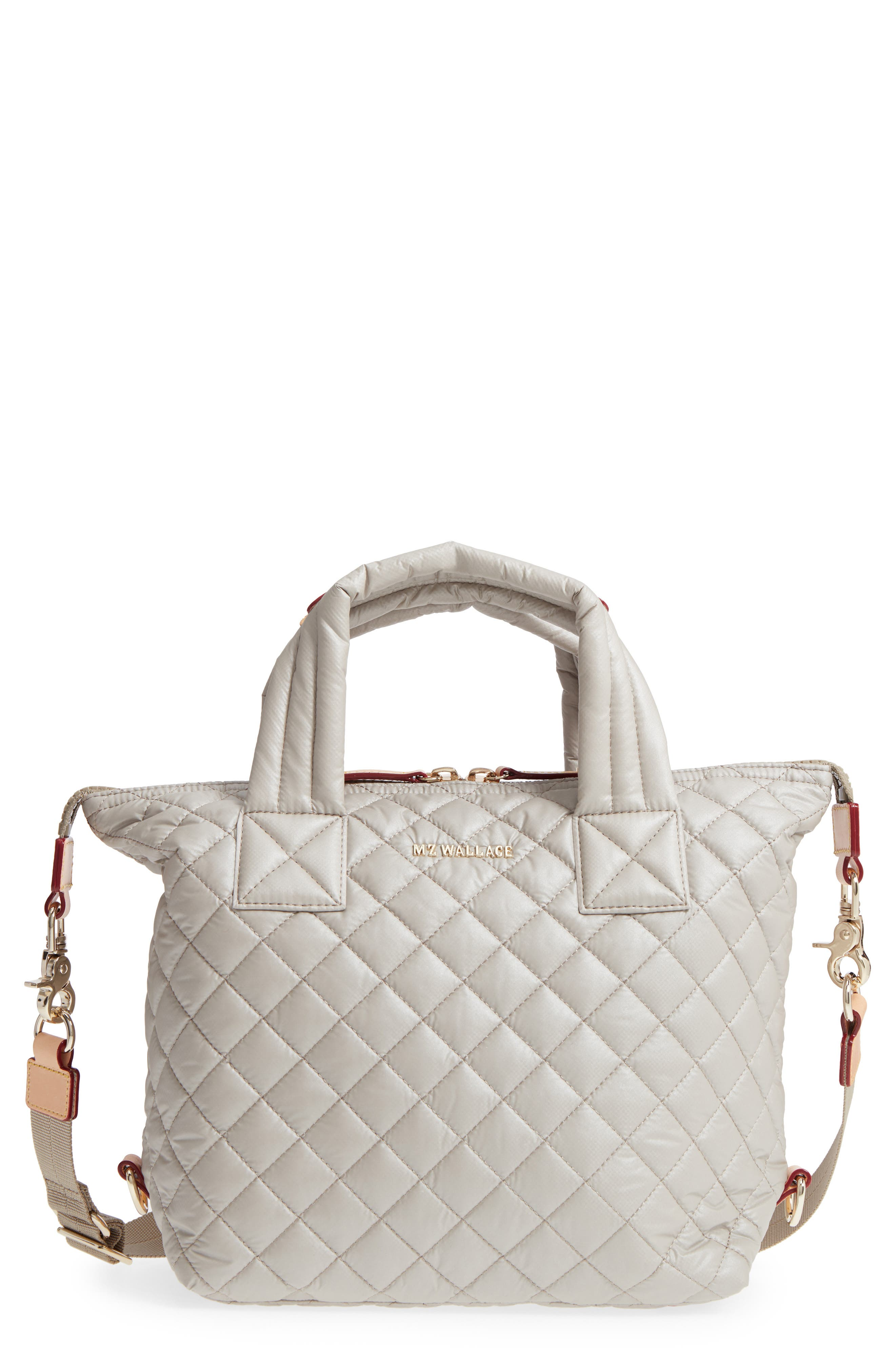 Small Sutton Quilted Oxford Nylon Tote,                         Main,                         color, Atmosphere Metallic