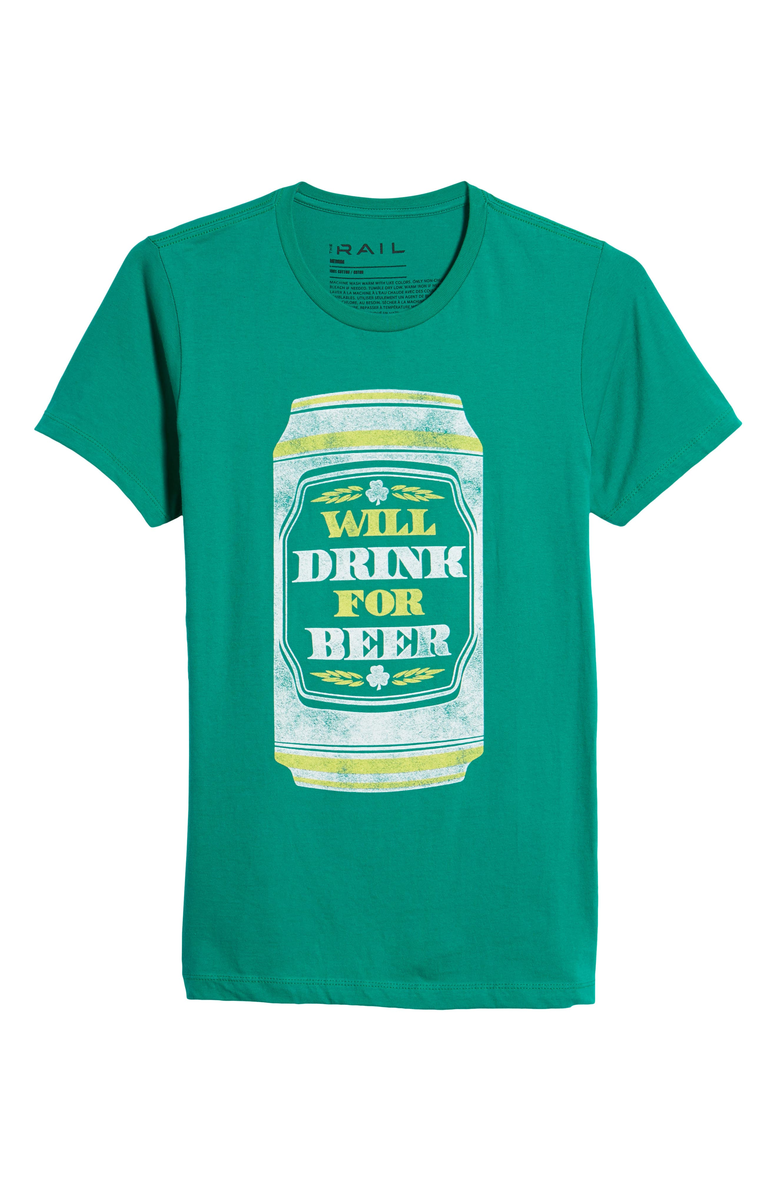 Will Drink for Beer Graphic T-Shirt,                             Alternate thumbnail 6, color,                             Green Drink Beer