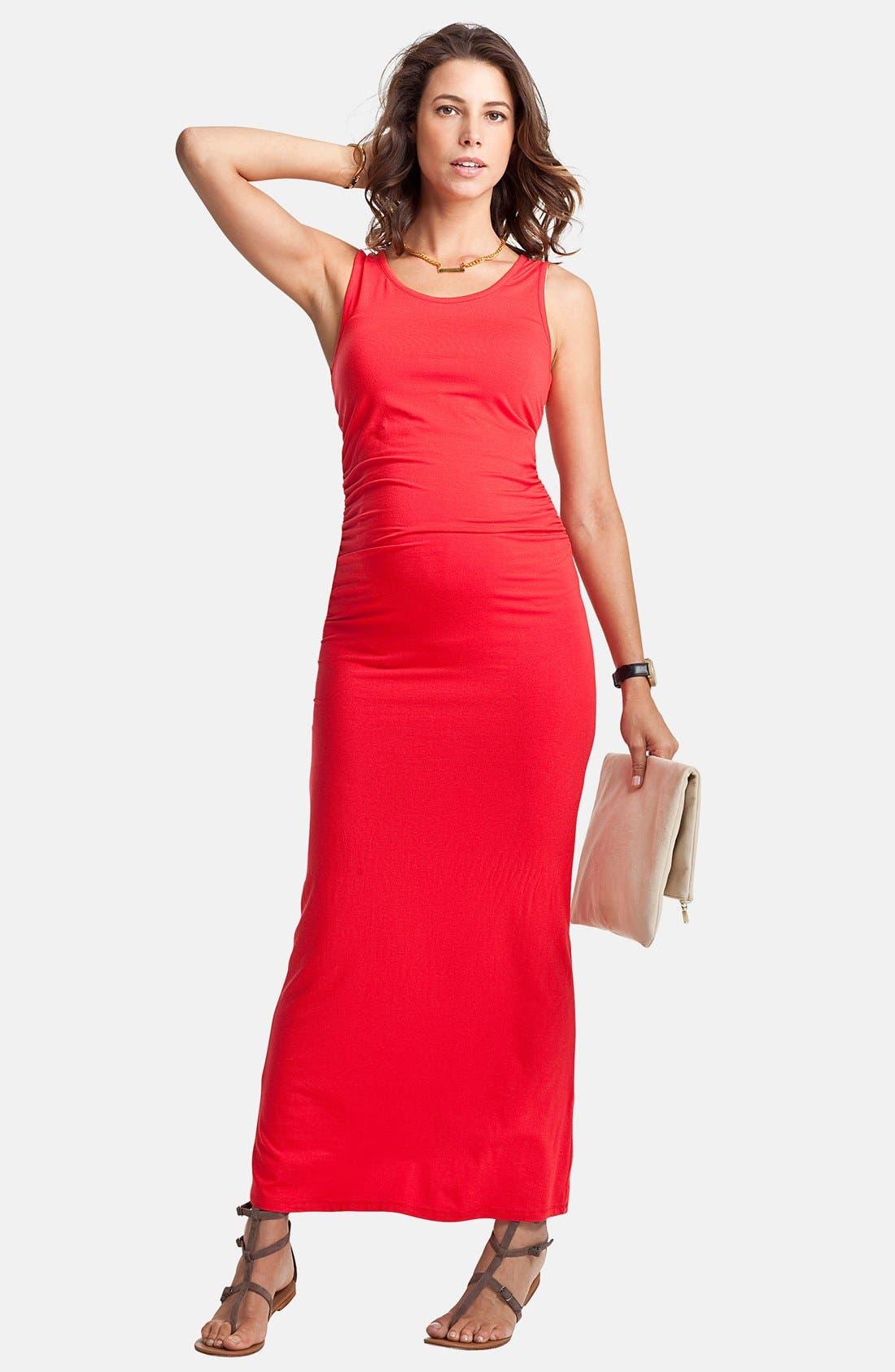 'Lisle' Maternity Maxi Tank Dress,                             Main thumbnail 1, color,                             Bright Coral