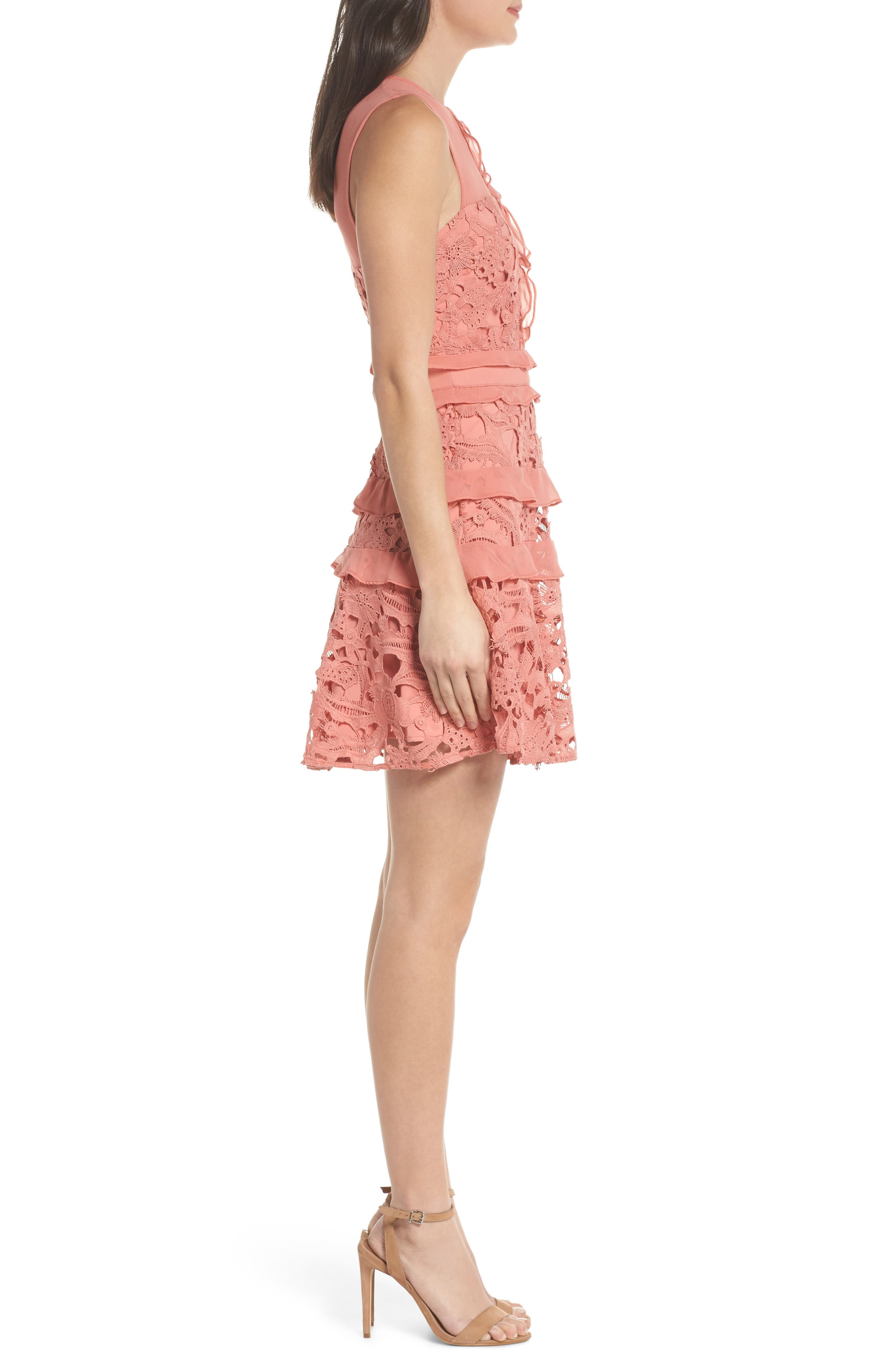 Lace Parfait Minidress,                             Alternate thumbnail 3, color,                             Dusty Rose
