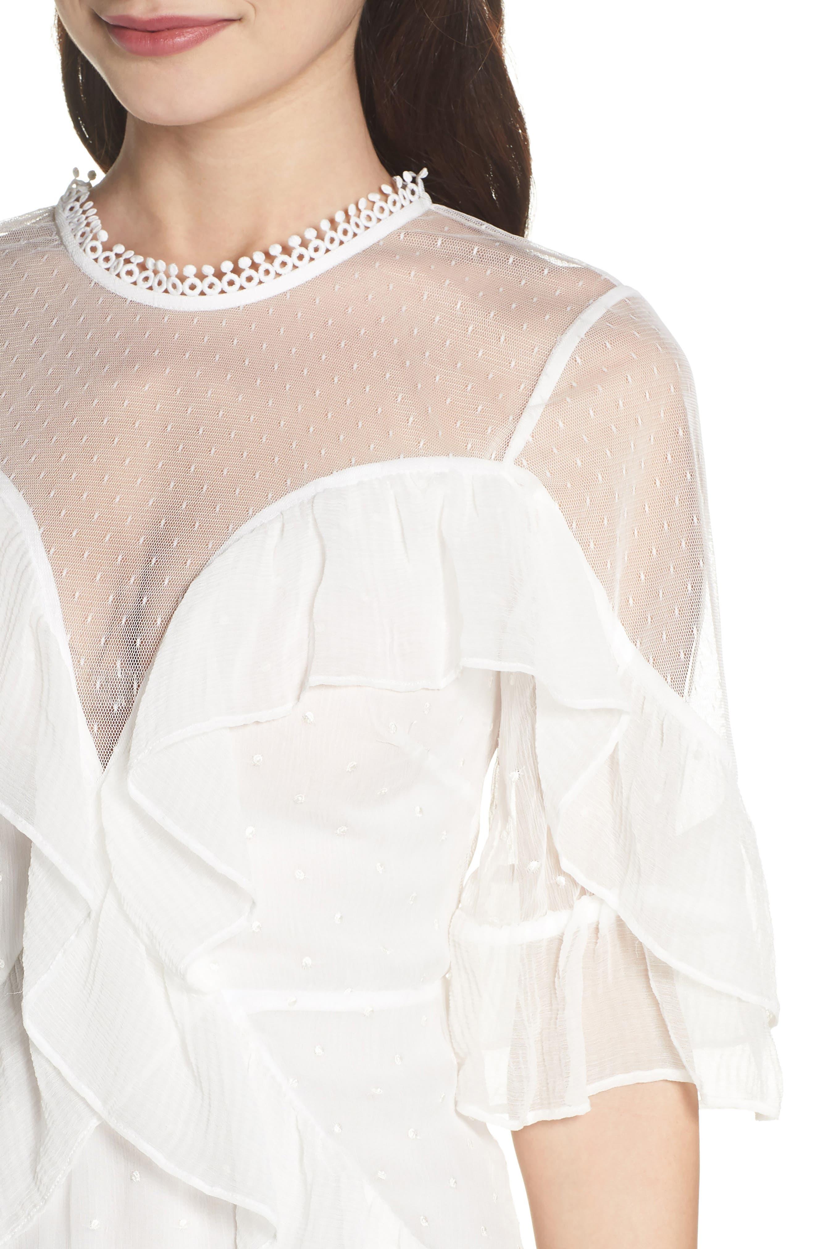 Enchantment Ruffle Chiffon Minidress,                             Alternate thumbnail 4, color,                             White