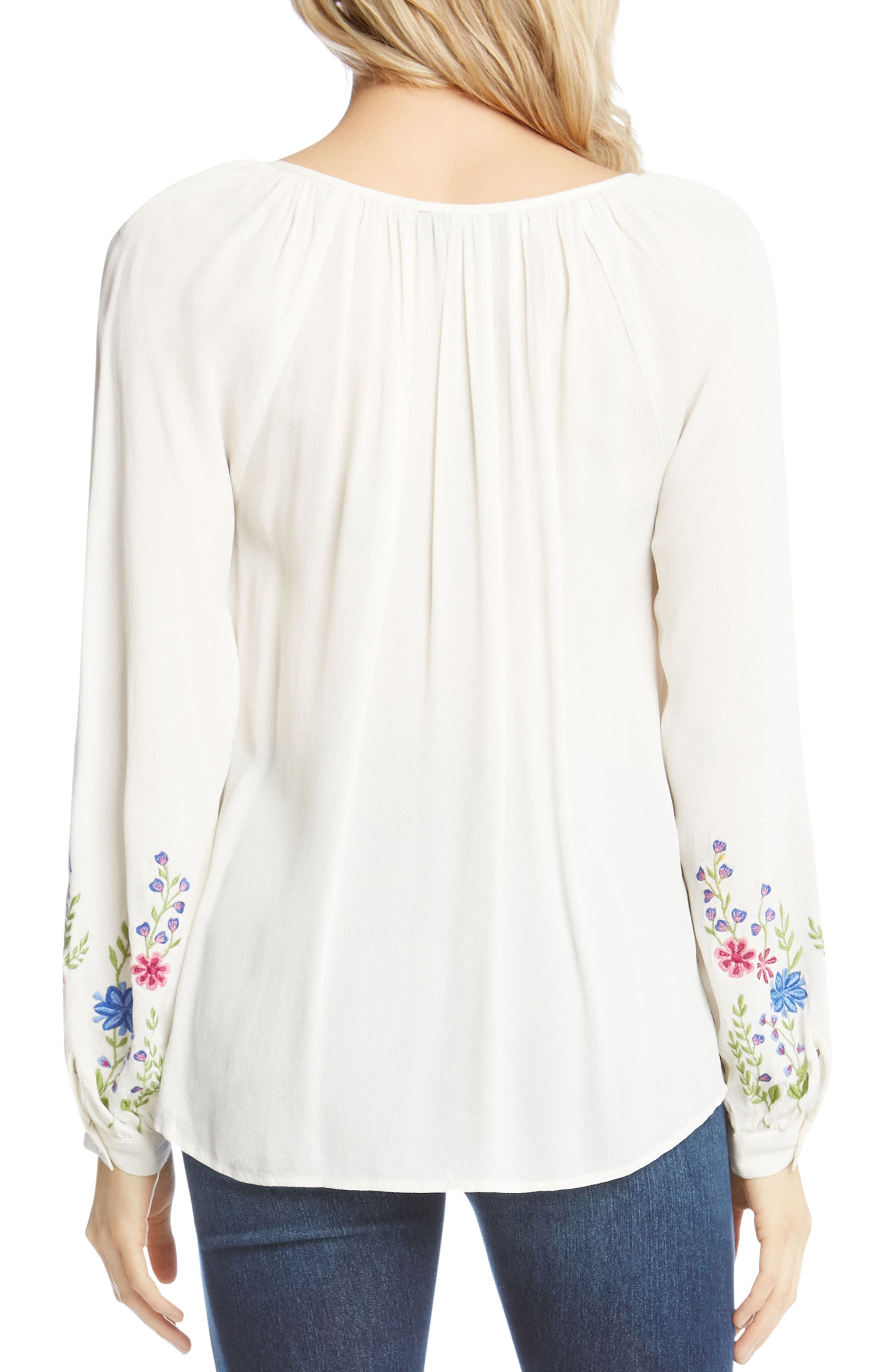 Embroidered Peasant Blouse,                             Alternate thumbnail 3, color,                             Off White