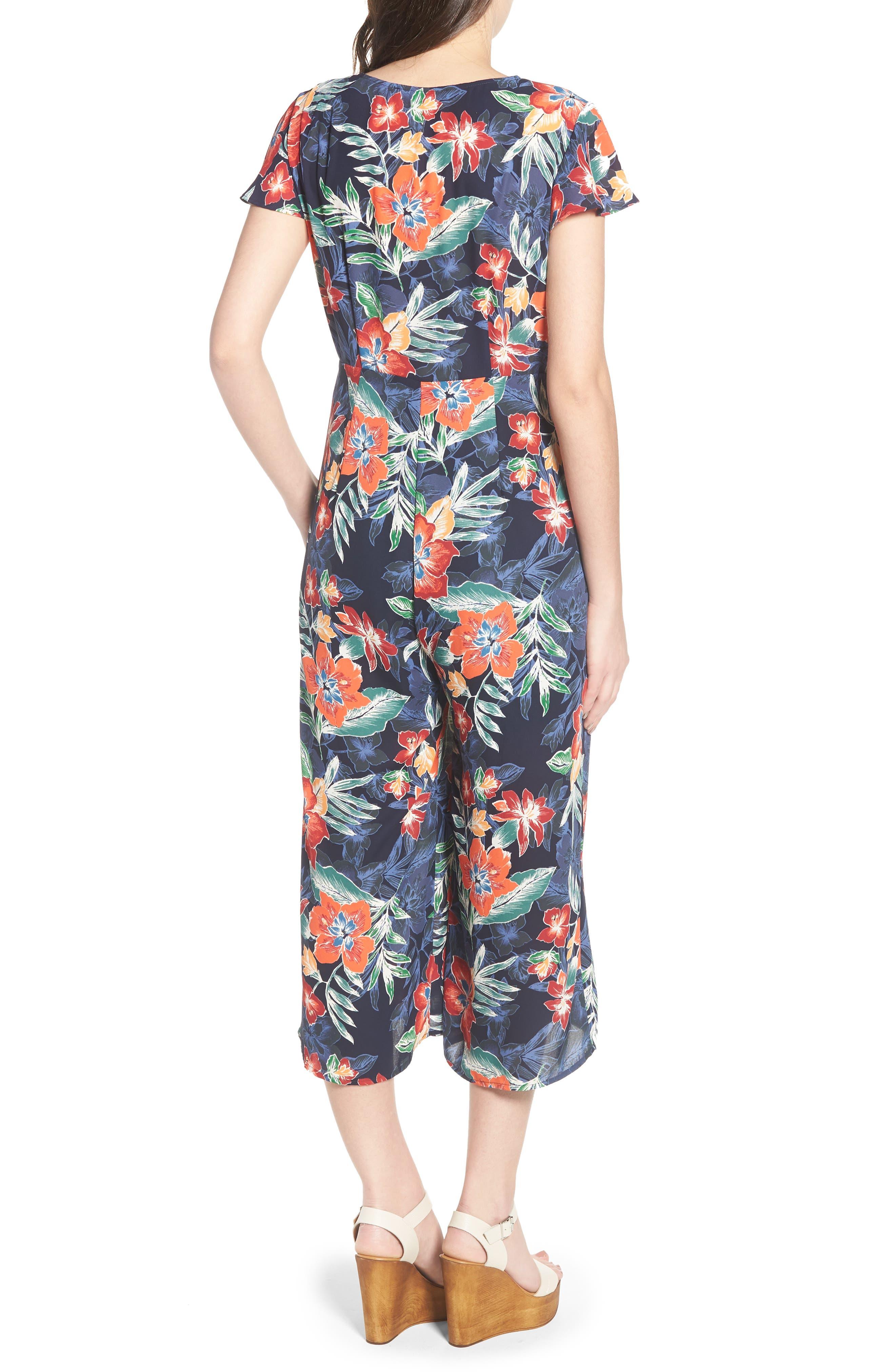 Tie Front Culotte Jumpsuit,                             Alternate thumbnail 2, color,                             Navy/ Multi