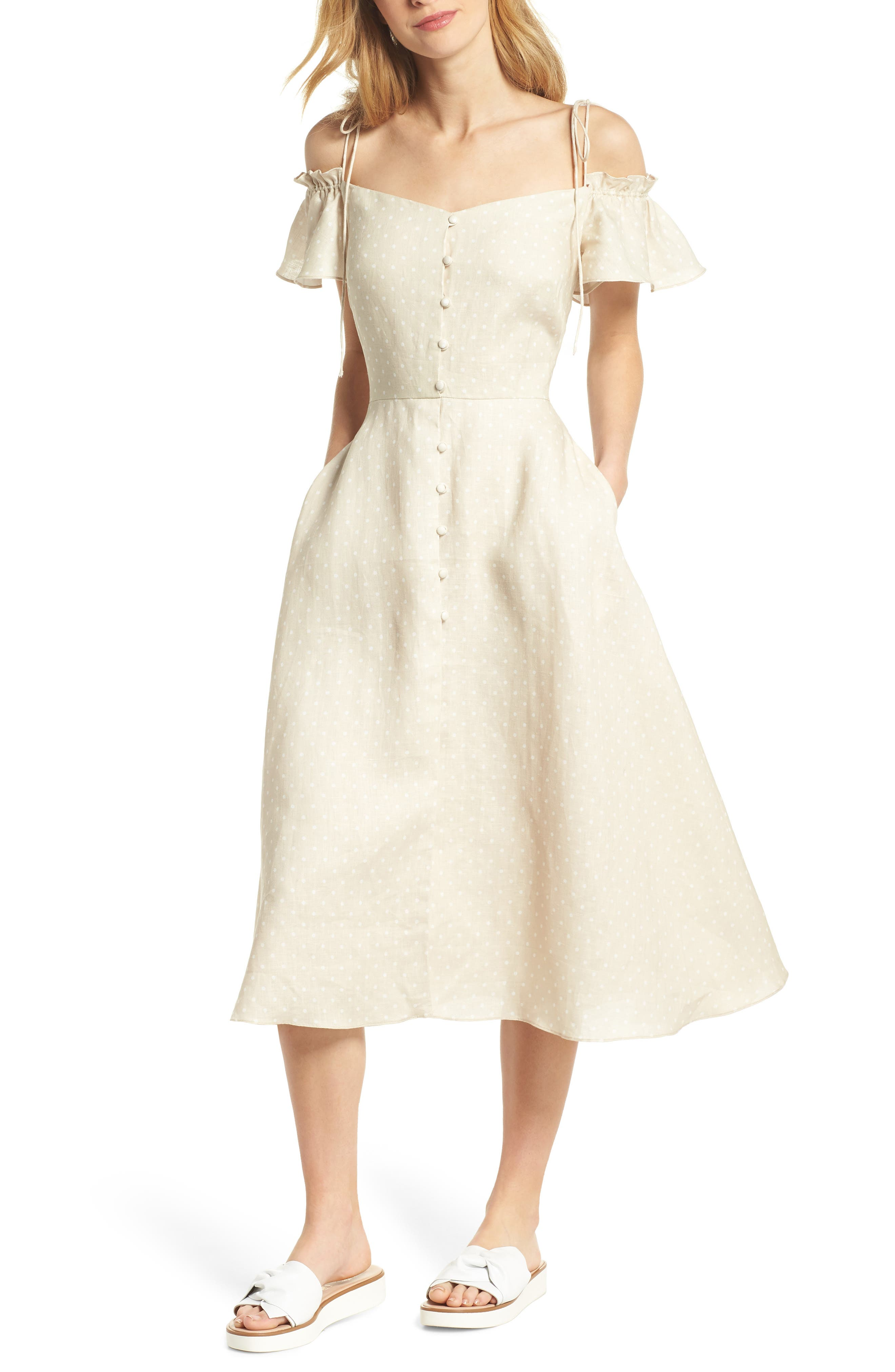 Colleen Polka Dot Off the Shoulder Dress,                         Main,                         color, Cream/ Ecru