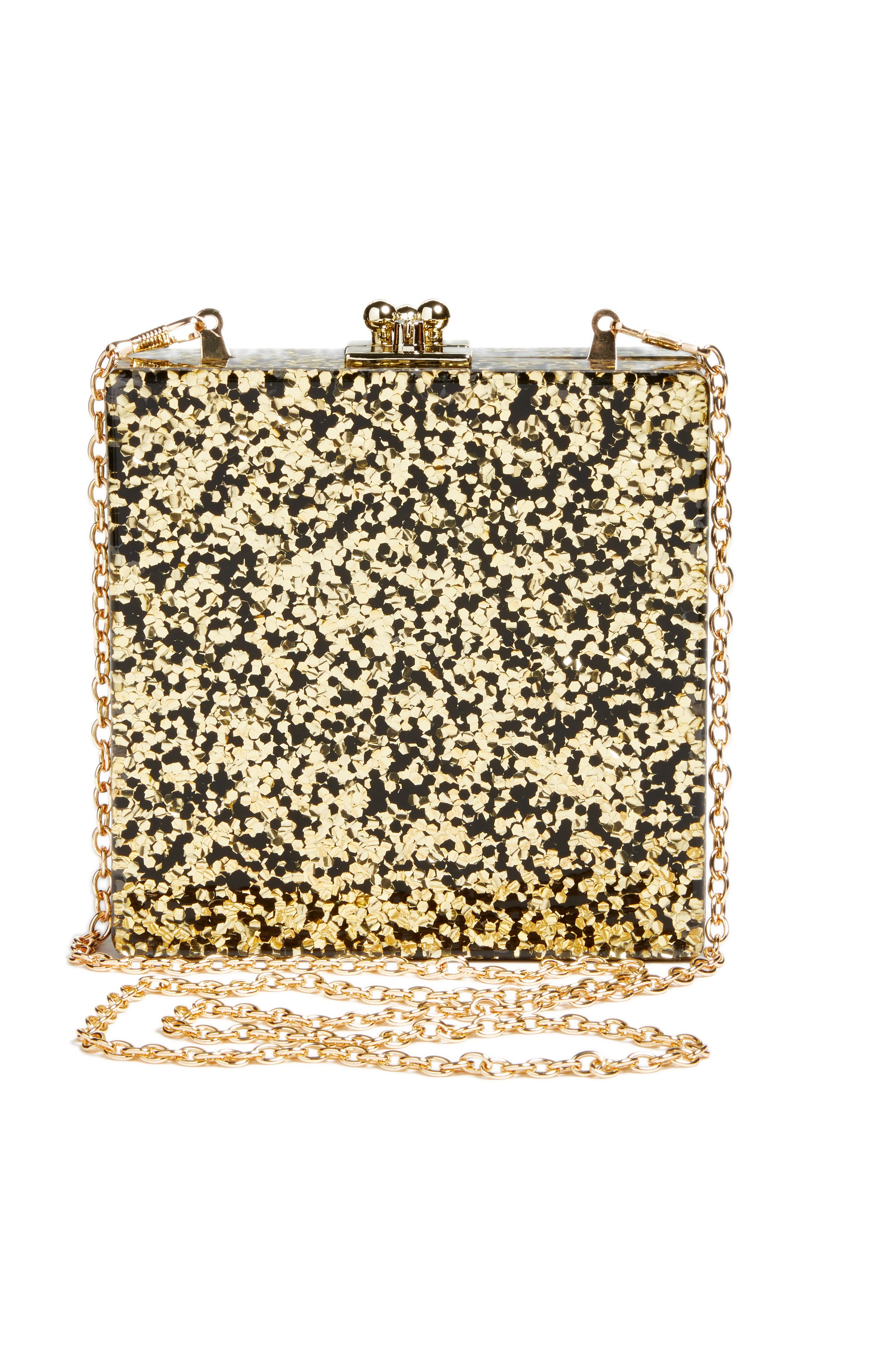 Alexa Sequin Box Clutch,                             Alternate thumbnail 3, color,                             Gold Multi