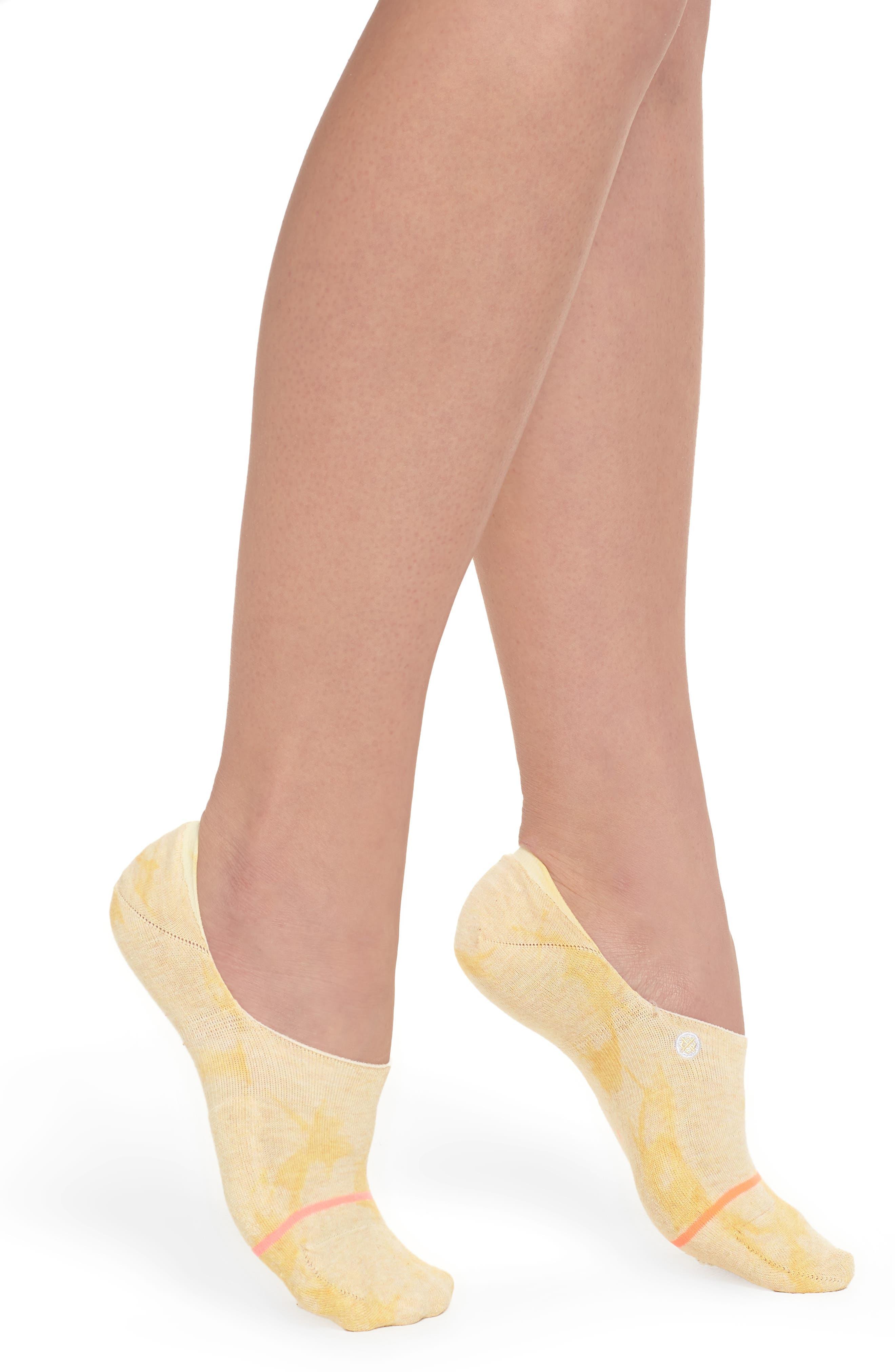 Lemon No-Show Socks,                             Main thumbnail 1, color,                             Yellow