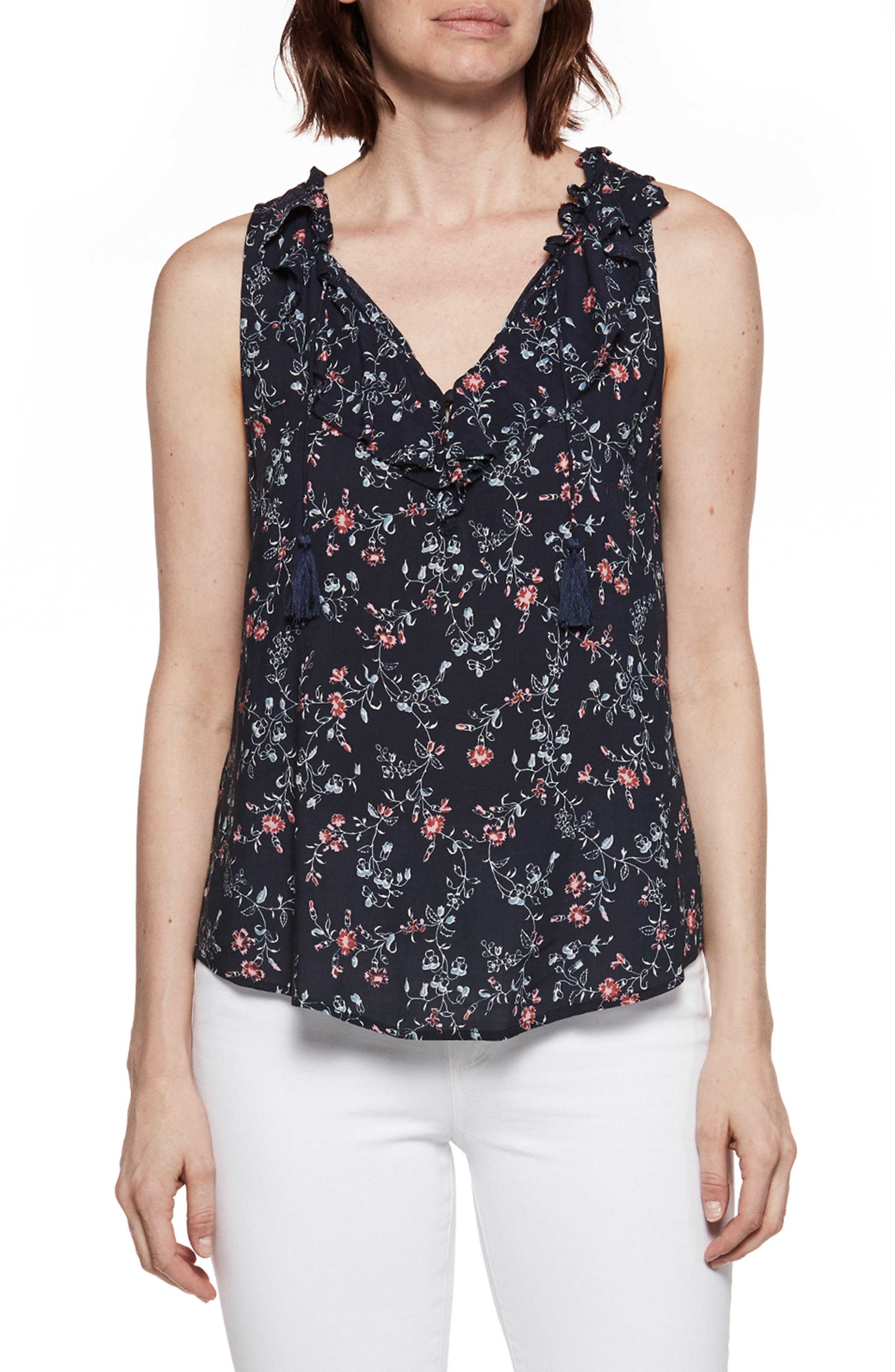 Paletta Floral Print Top,                         Main,                         color, Dark Ink Blue/Primrose Floral