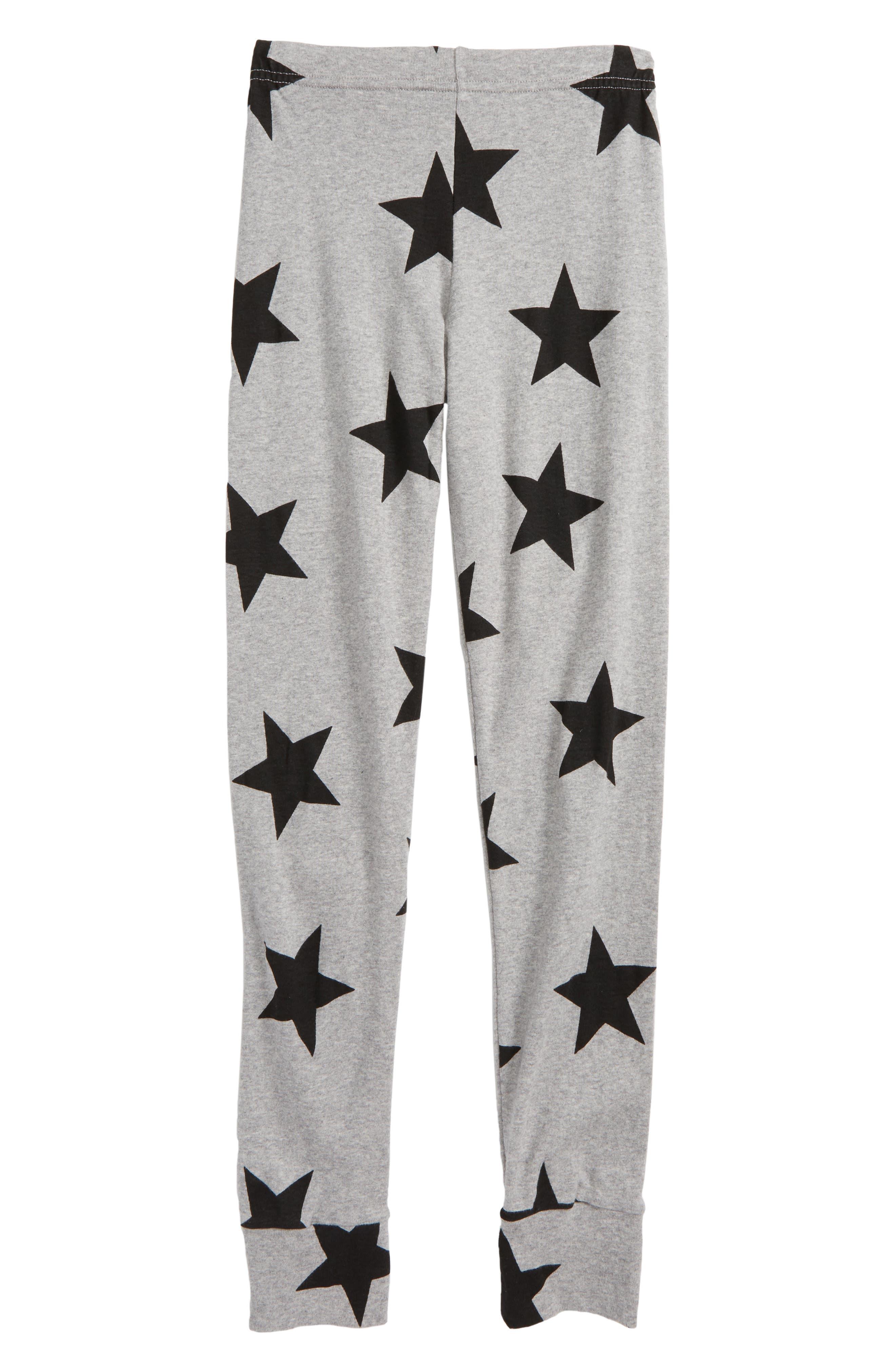 Star Print Leggings,                         Main,                         color, Heather Grey