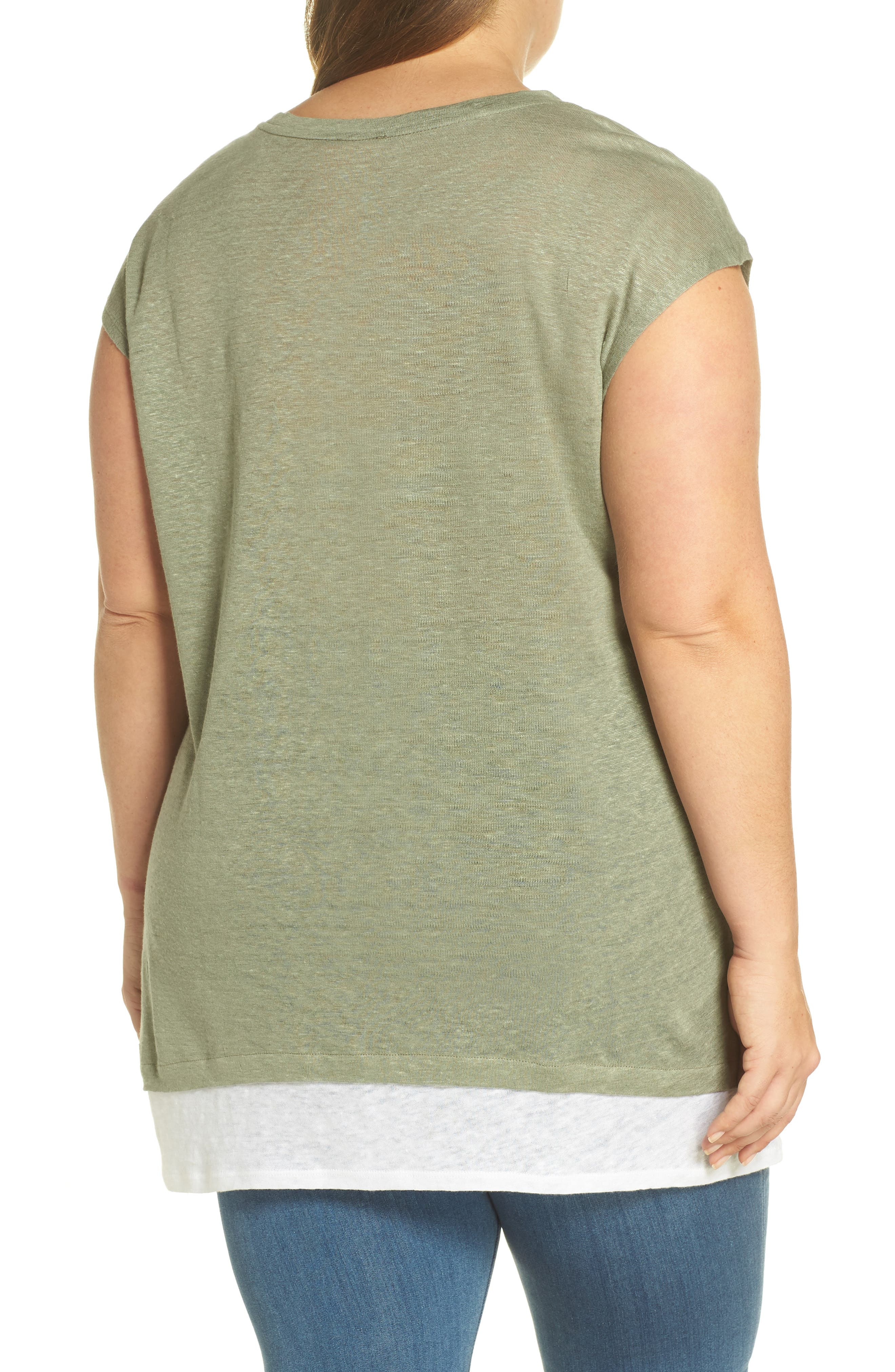 Layered Look Tee,                             Alternate thumbnail 2, color,                             Canopy Green