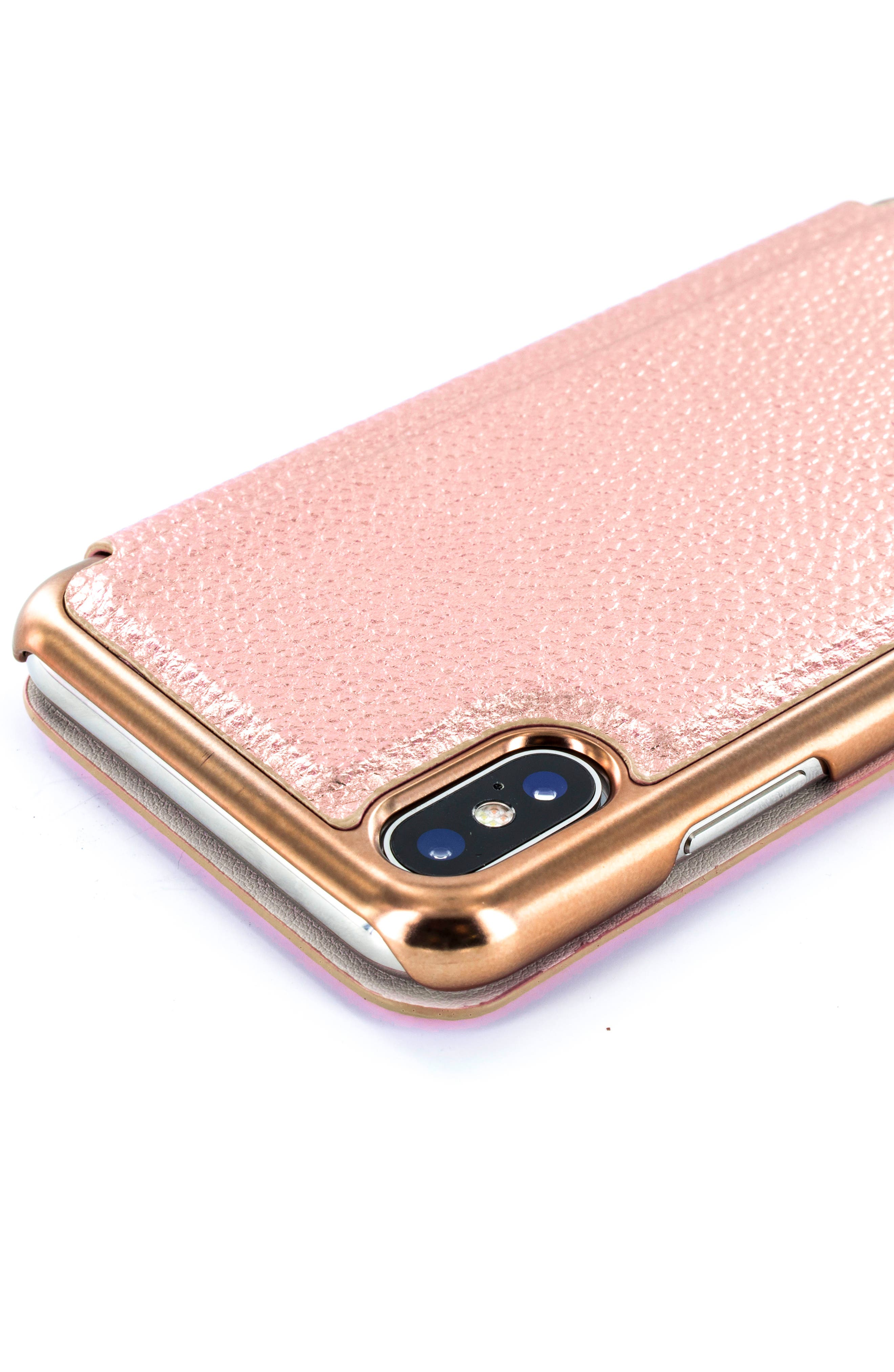 Fenela Faux Leather iPhone X Mirror Folio Case,                             Alternate thumbnail 4, color,                             Rose Gold