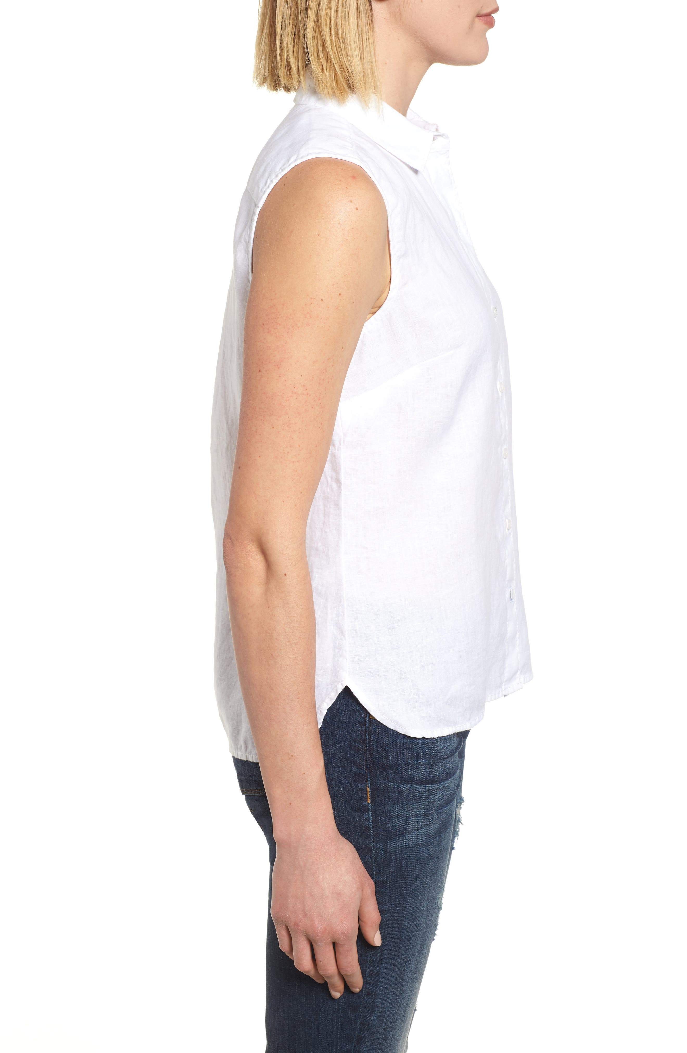 Sea Glass Breezer Linen Shirt,                             Alternate thumbnail 3, color,                             White