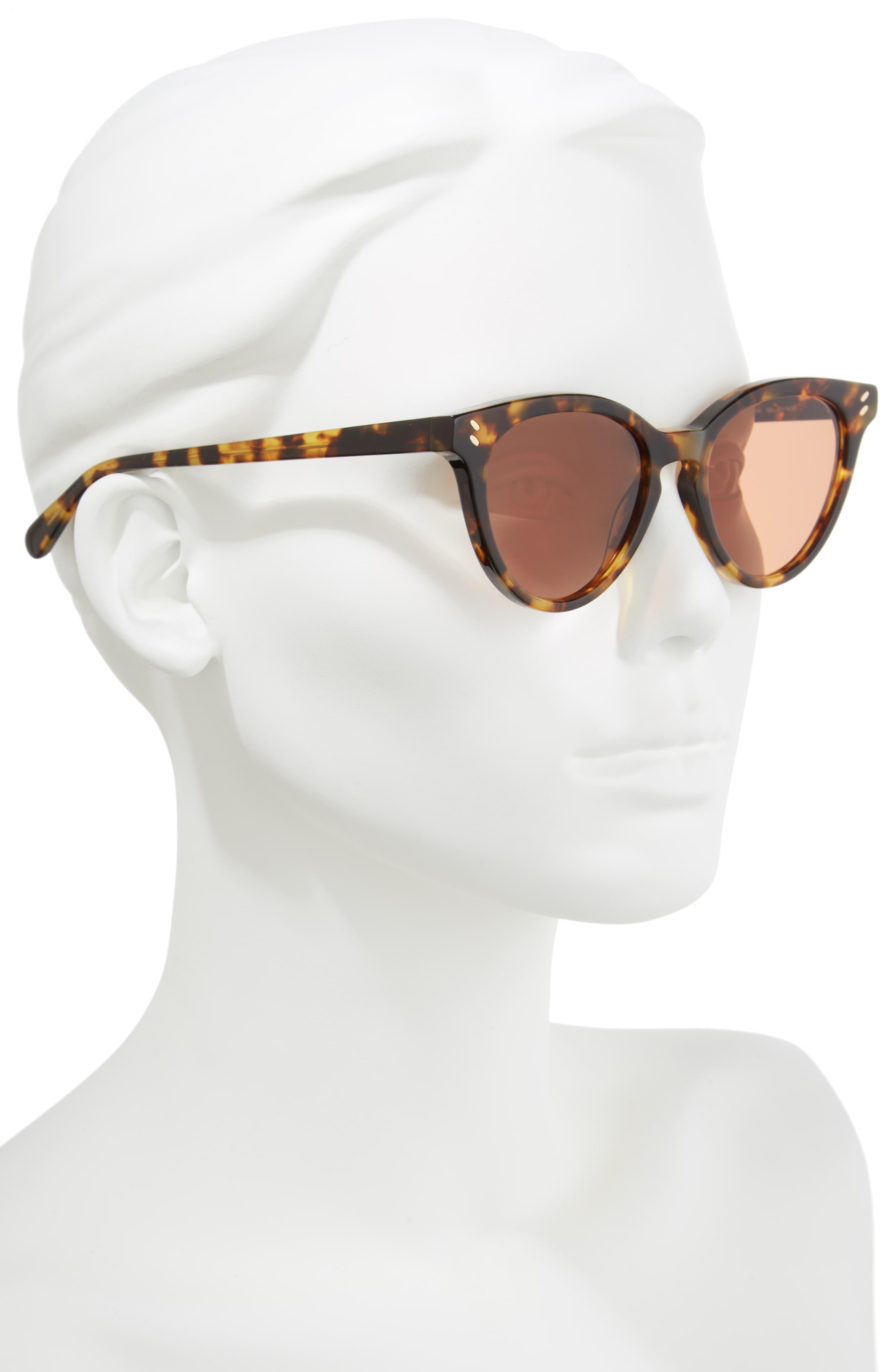 50mm Round Sunglasses,                             Alternate thumbnail 2, color,                             Medium Havana