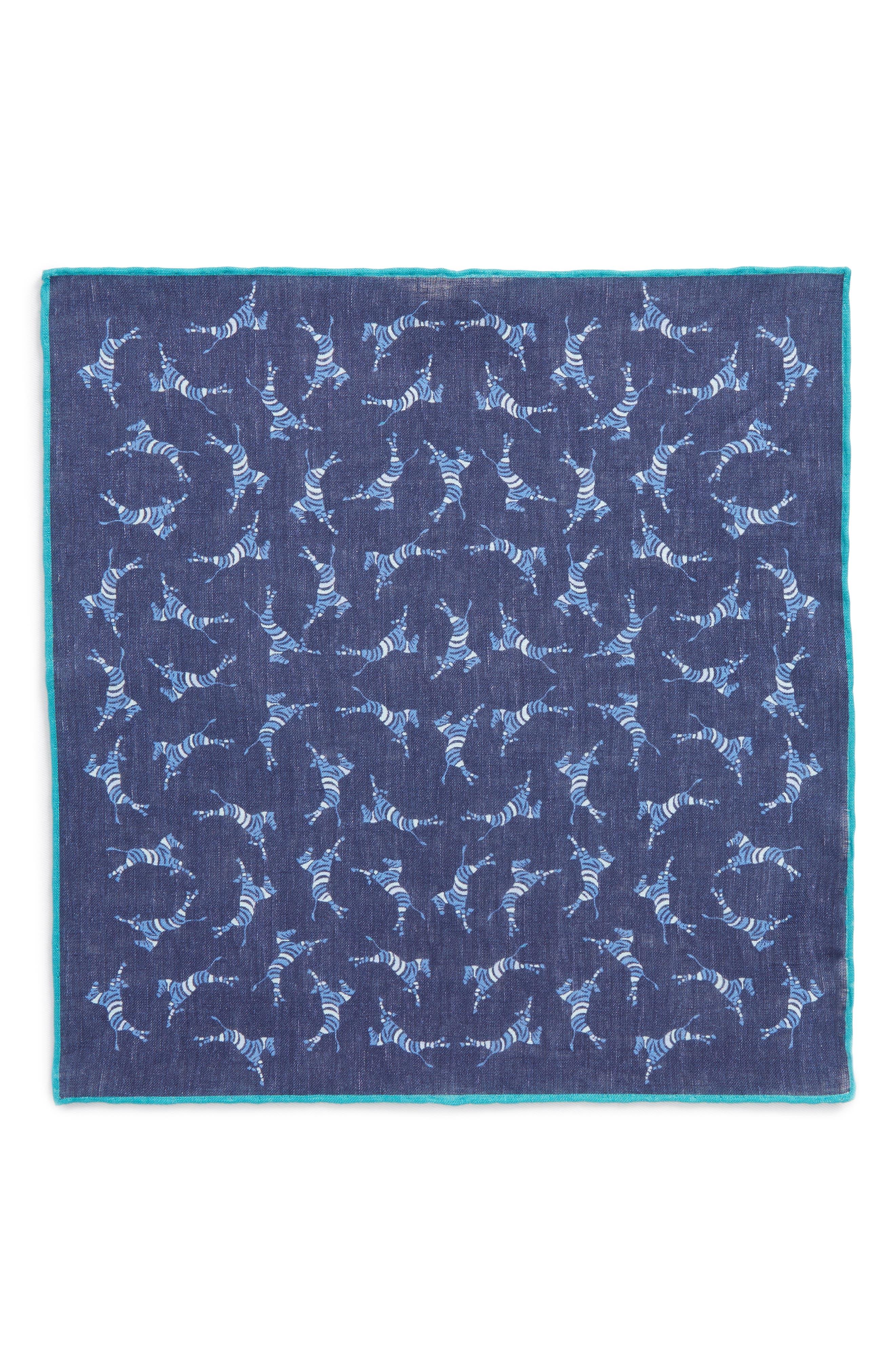 Zebra Leap Print Linen Pocket Square,                             Alternate thumbnail 2, color,                             Maritime