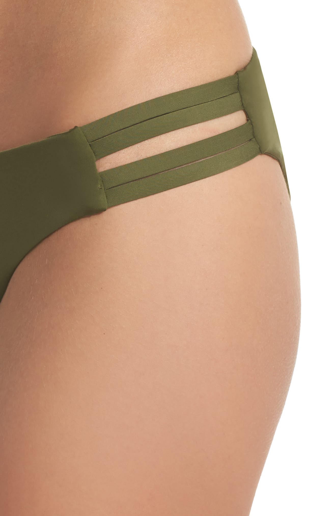 Quick Dry Max Surf Bikini Bottoms,                             Alternate thumbnail 4, color,                             Olive Canvas