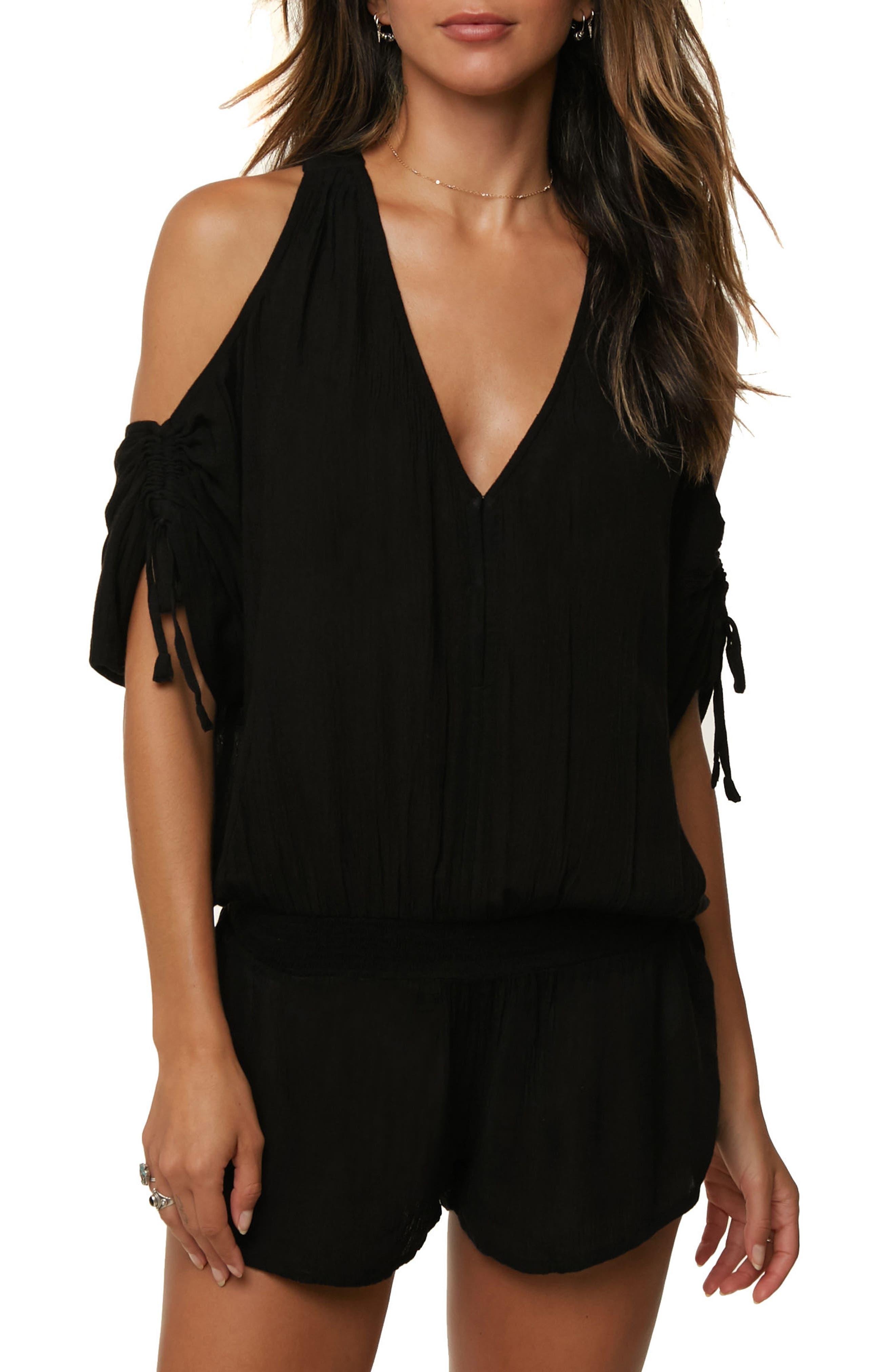 Elana Cover-Up Romper,                         Main,                         color, Black