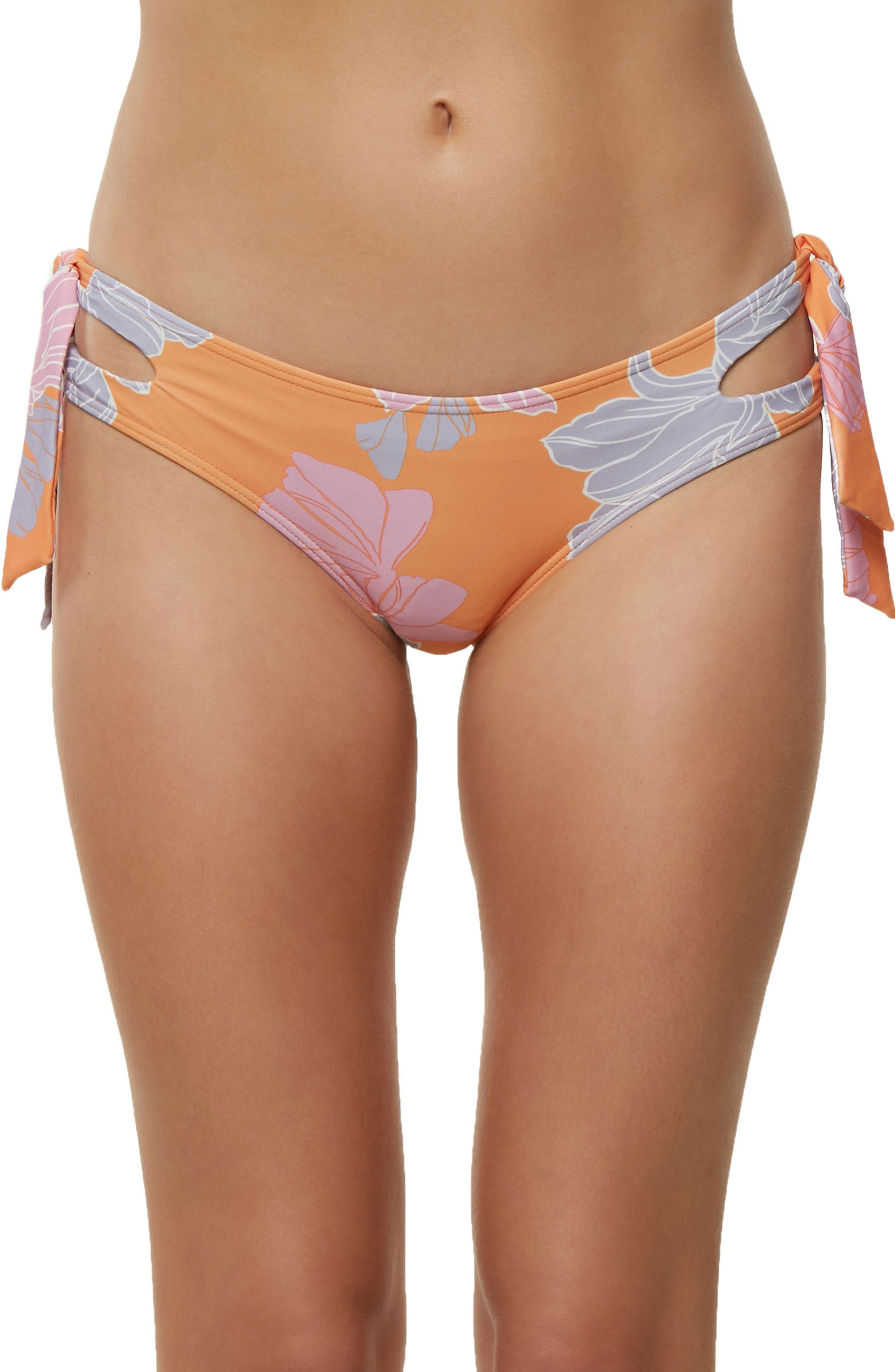 Zilla Side Tie Bikini Bottoms,                             Main thumbnail 1, color,                             Orange Multi