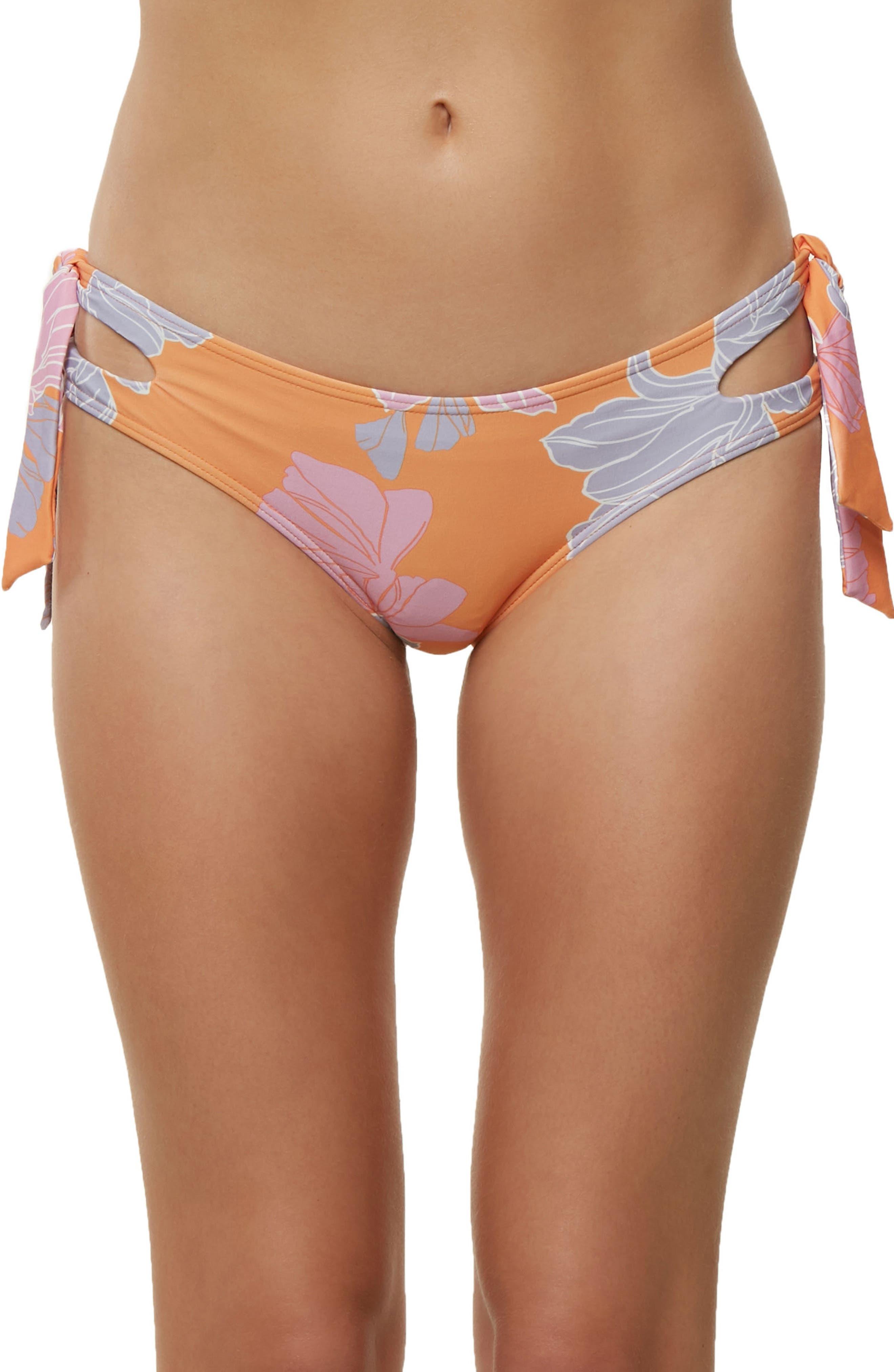 Zilla Side Tie Bikini Bottoms,                         Main,                         color, Orange Multi