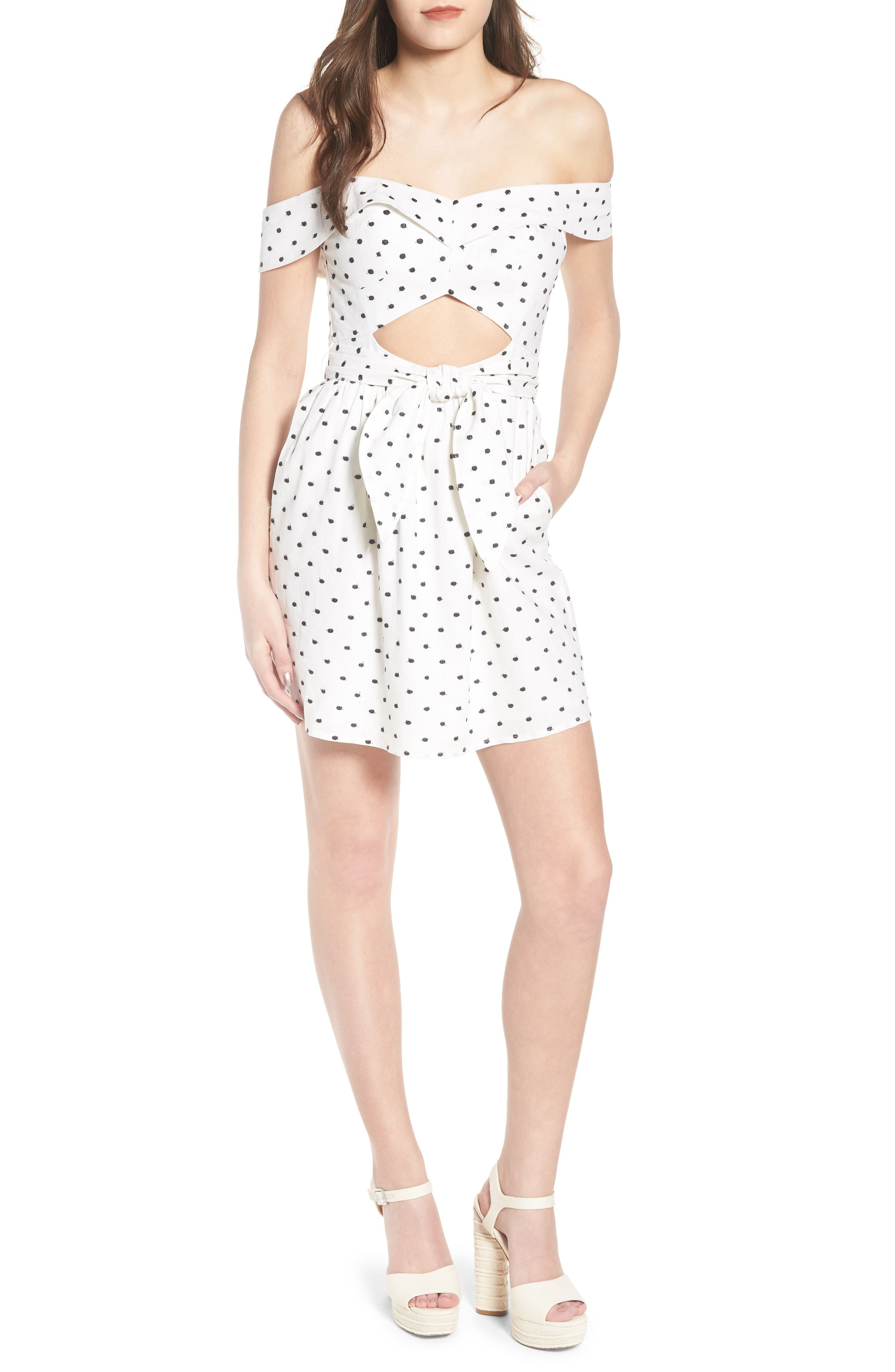 Capri Knot Cutout Minidress,                         Main,                         color, Ivory Polka Dot