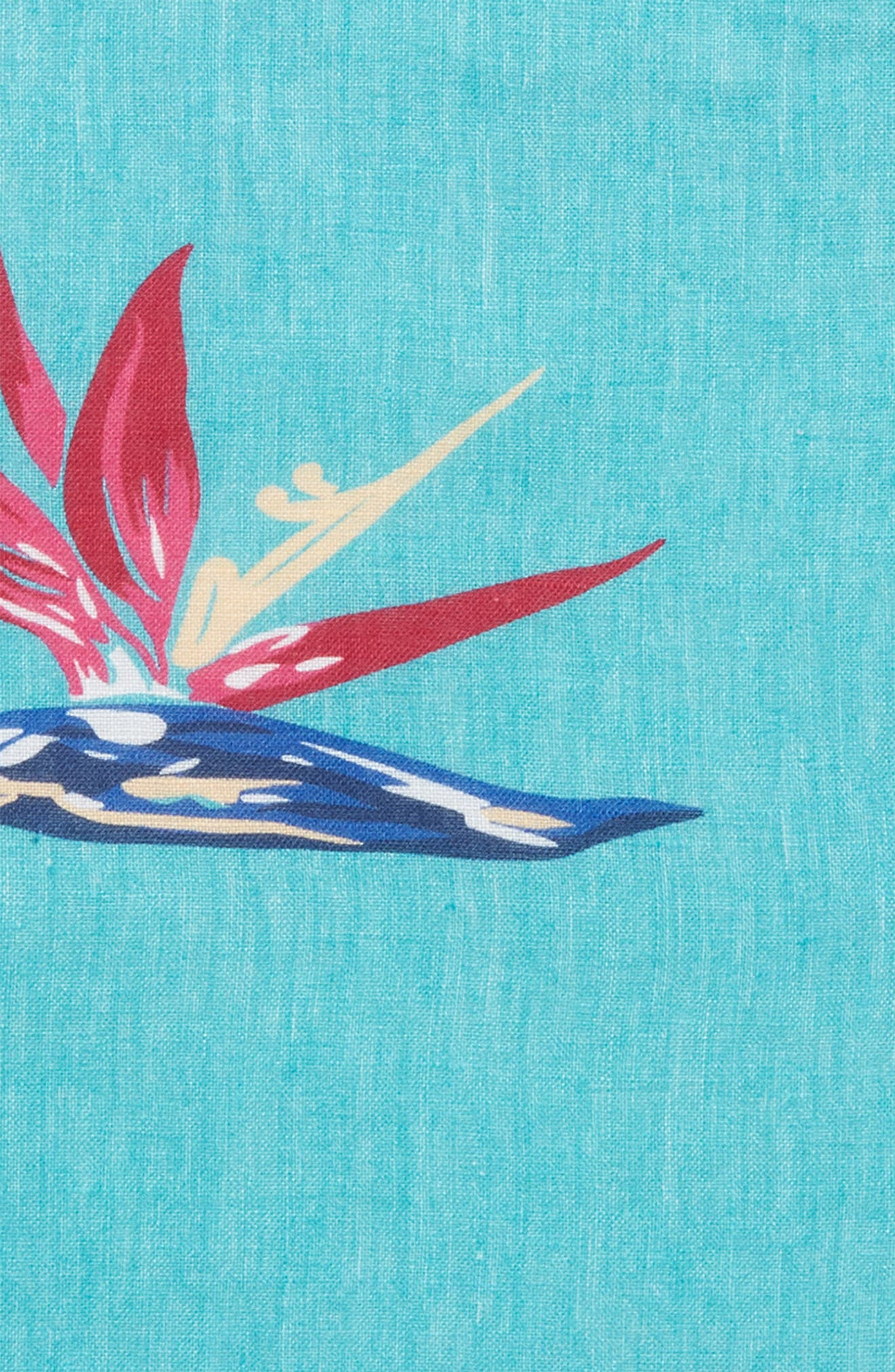 Birds of Paradise Floral Linen Pocket Square,                             Alternate thumbnail 2, color,                             Pappagallo Teal