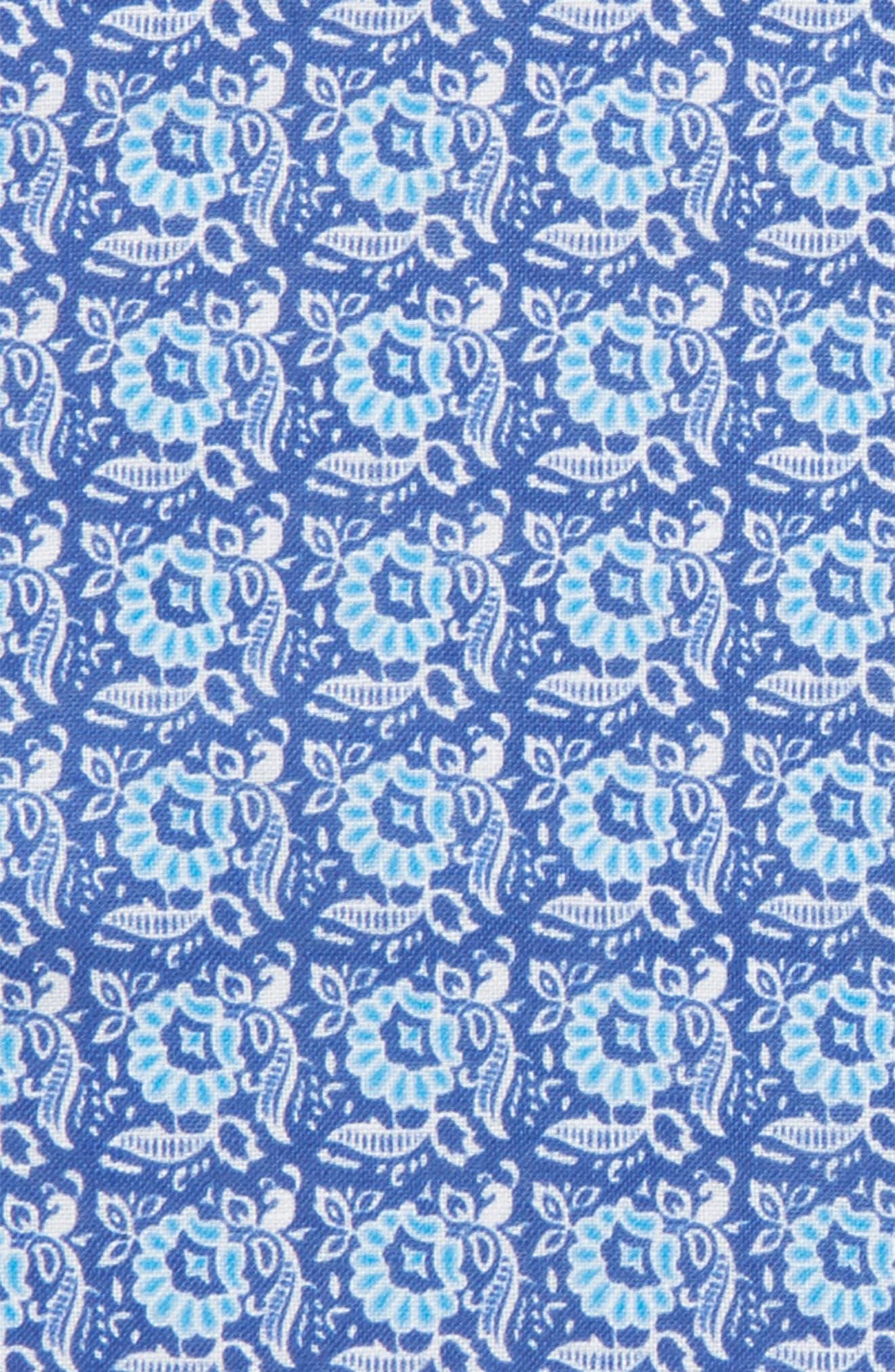 Linen Pocket Square,                             Alternate thumbnail 2, color,                             Navy Flower