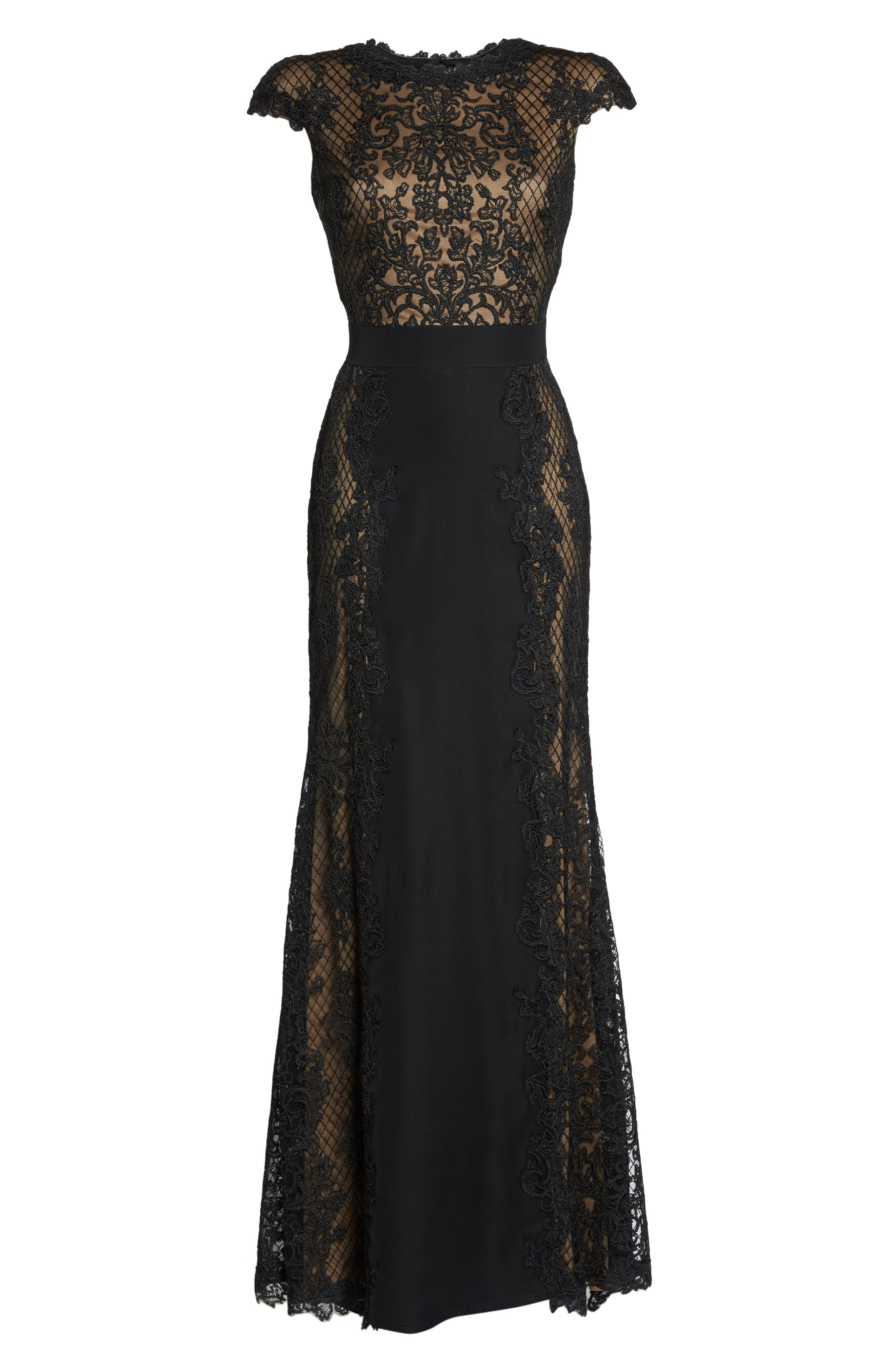 Lace Gown,                             Alternate thumbnail 6, color,                             Black/ Nude