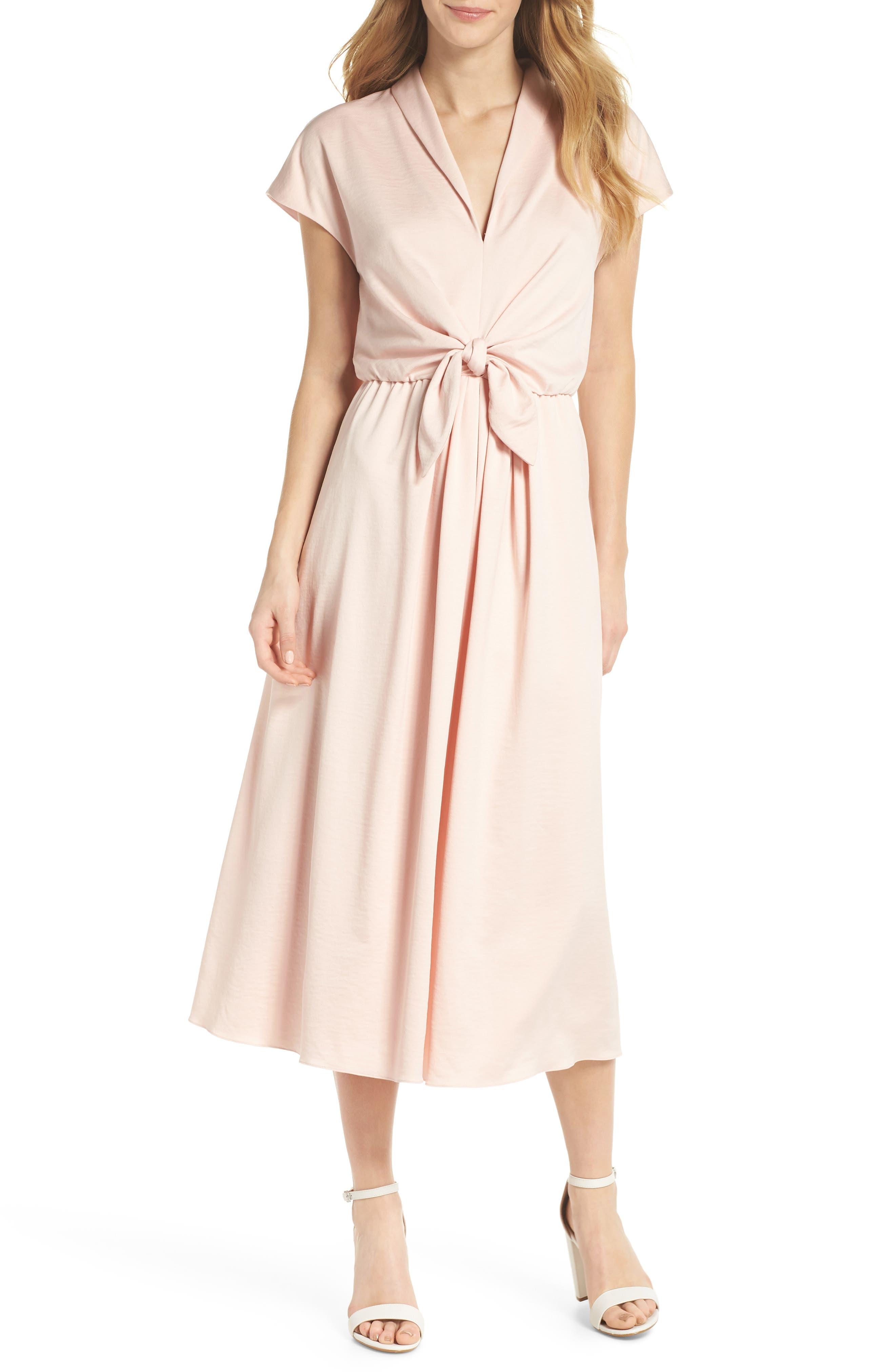Margie Tie Waist Satin Midi Dress,                         Main,                         color, Powder Pink