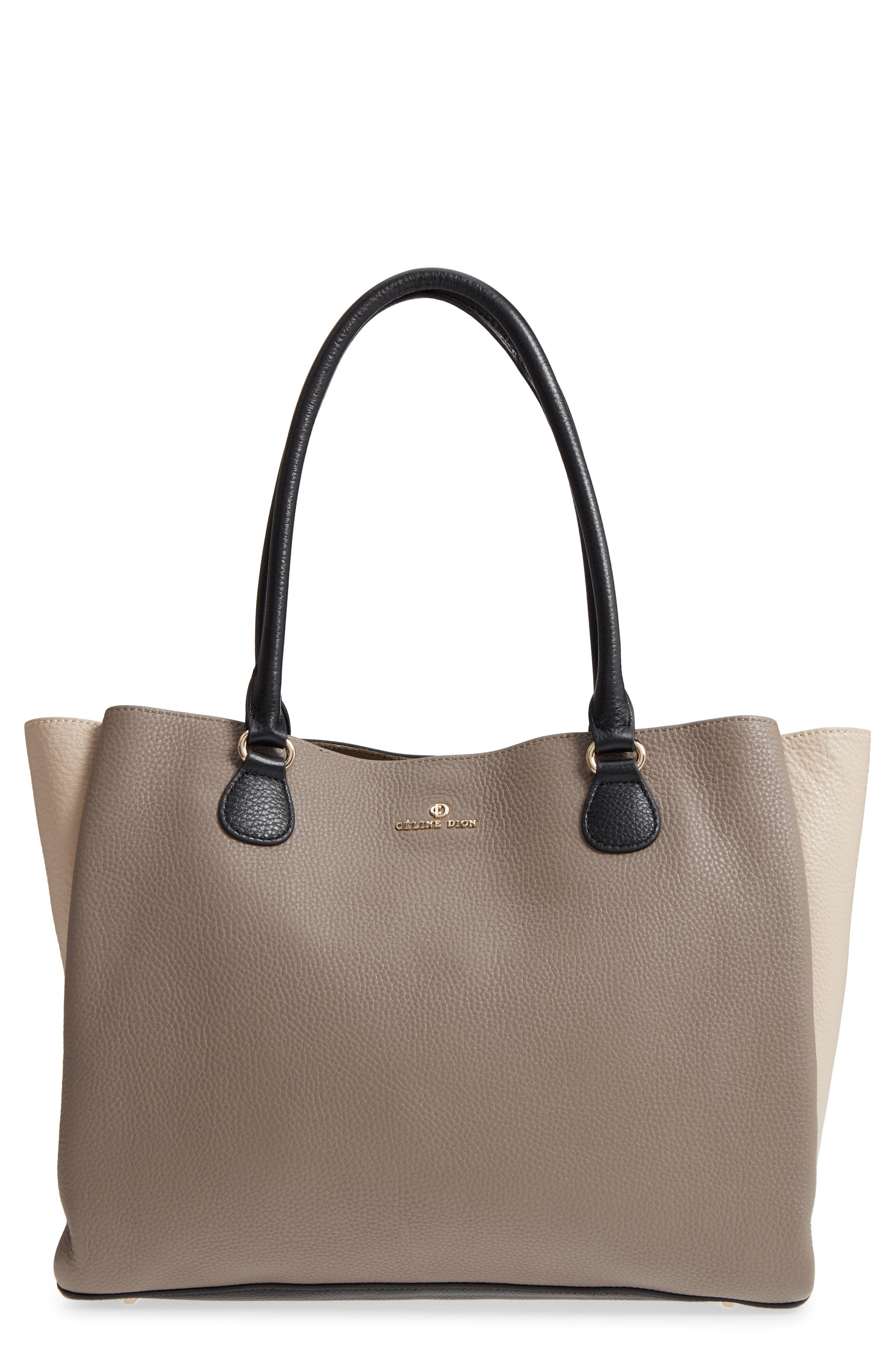 Céline Dion Adagio Leather Tote,                             Main thumbnail 1, color,                             Taupe Combo