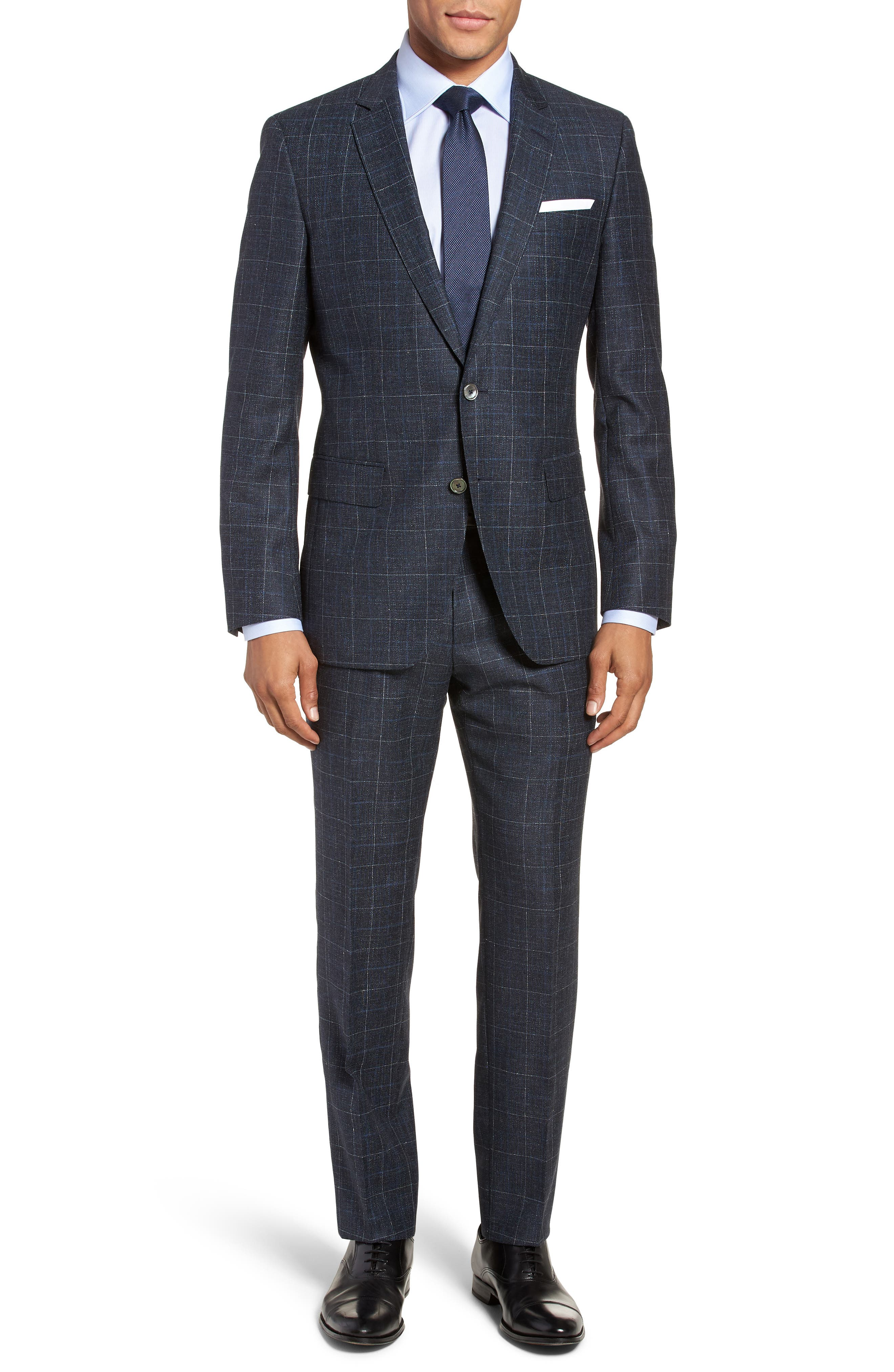 BOSS Hutson/Gander Trim Fit Windowpane Wool & Silk Suit