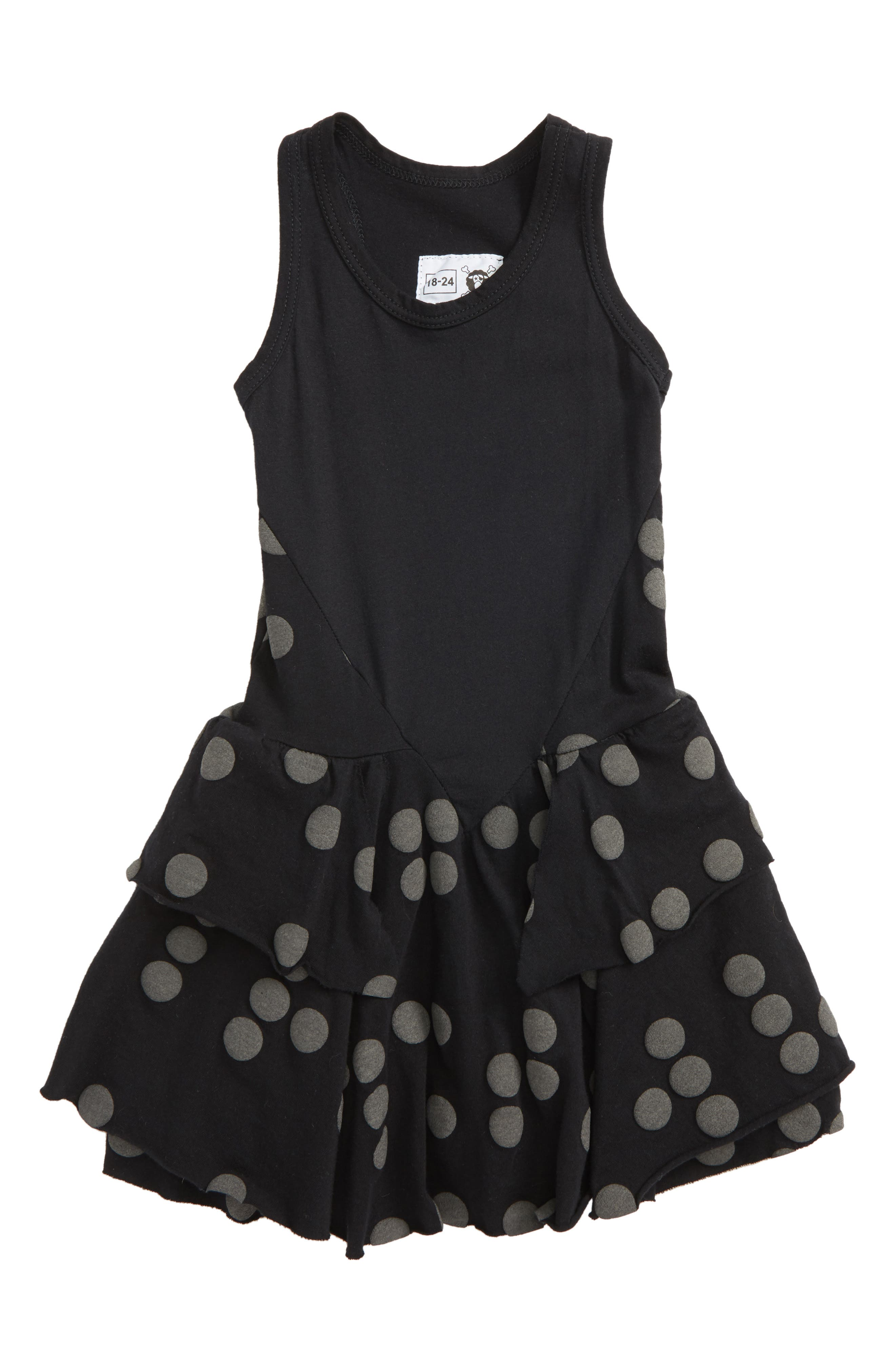 Braille Dot Layered Tank Dress,                         Main,                         color, Black