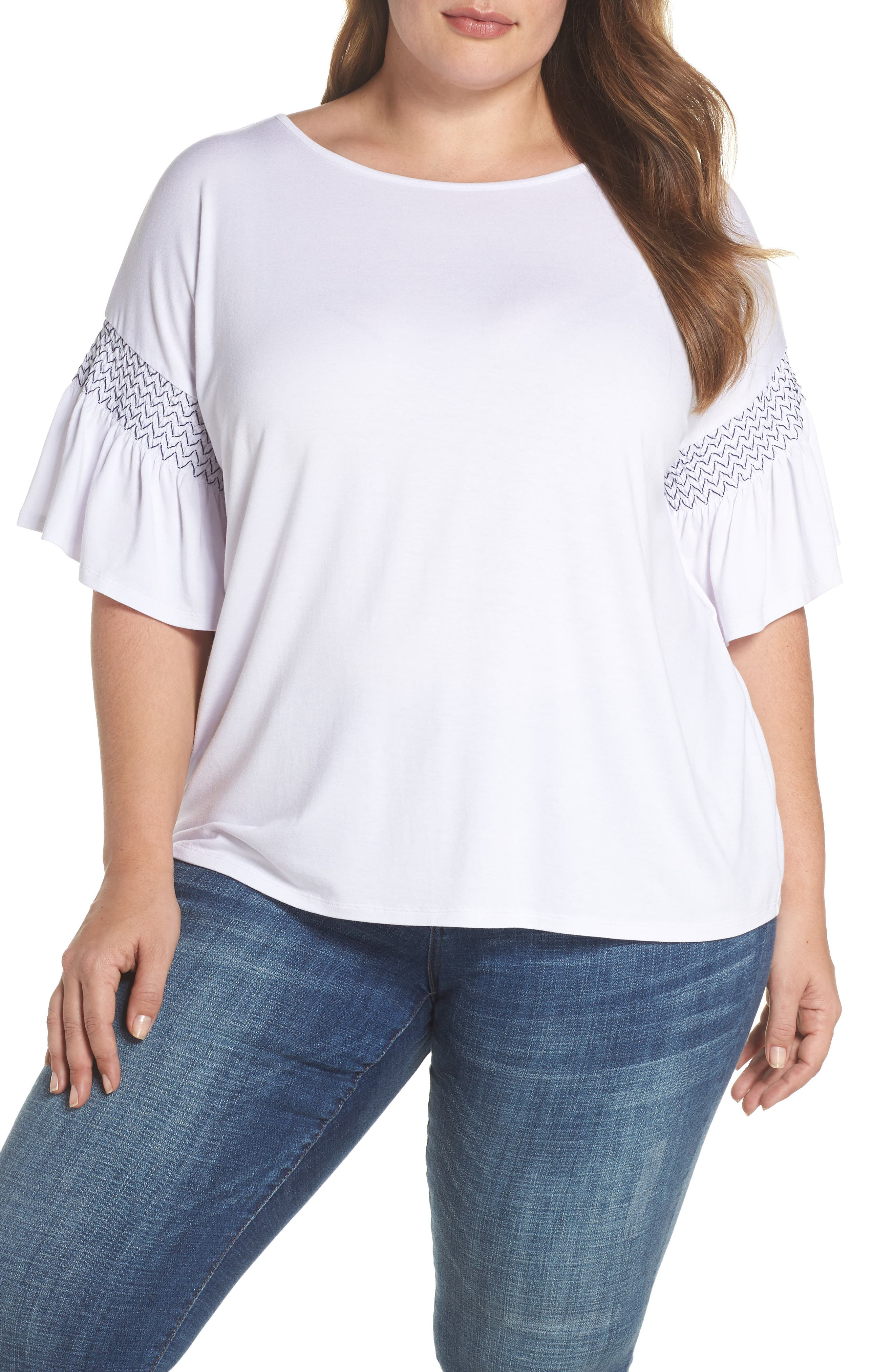 Dropped Smock Shoulder Ruffle Sleeve Top,                         Main,                         color, Ultra White