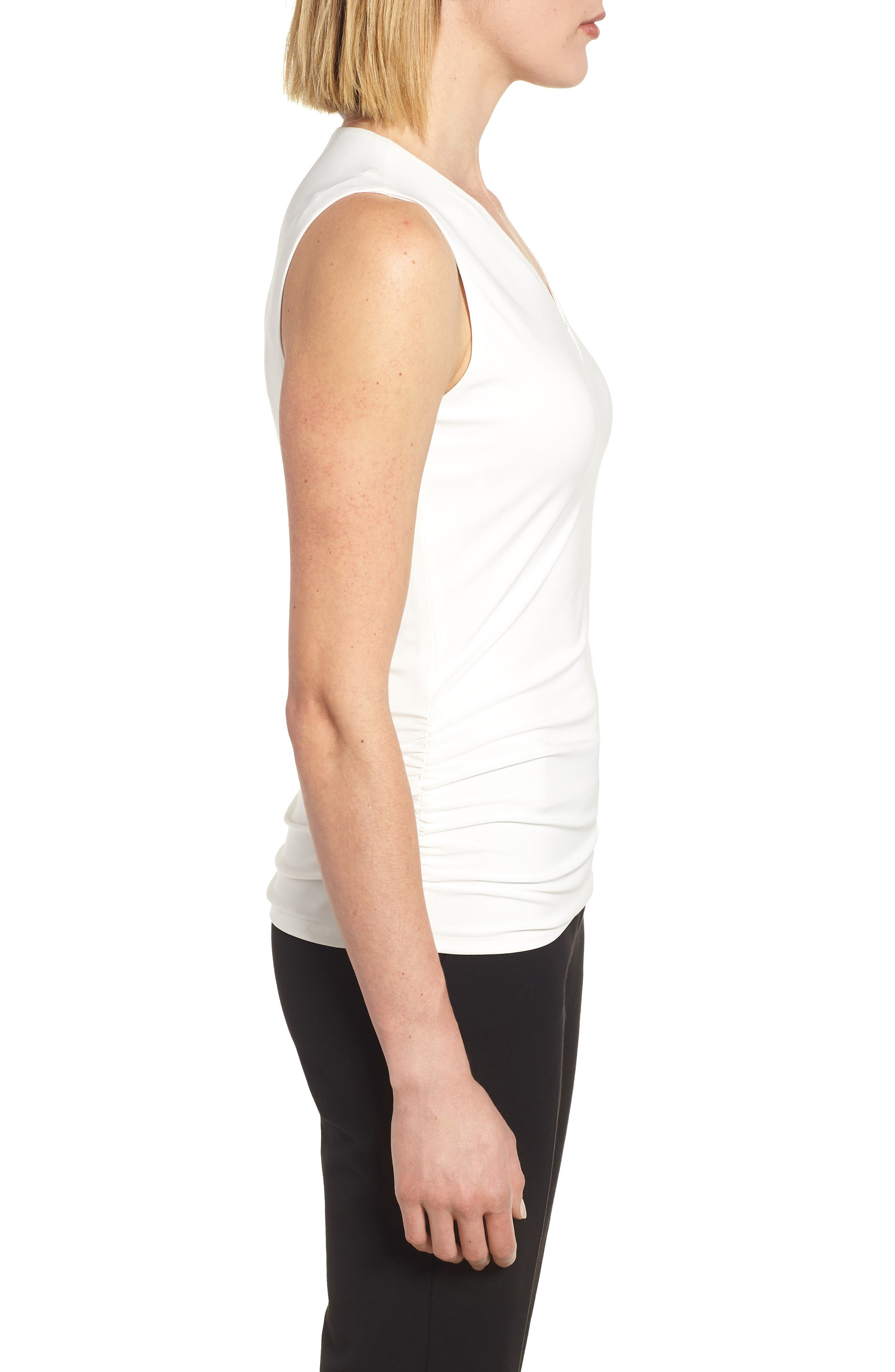 Side Ruched Top,                             Alternate thumbnail 3, color,                             White