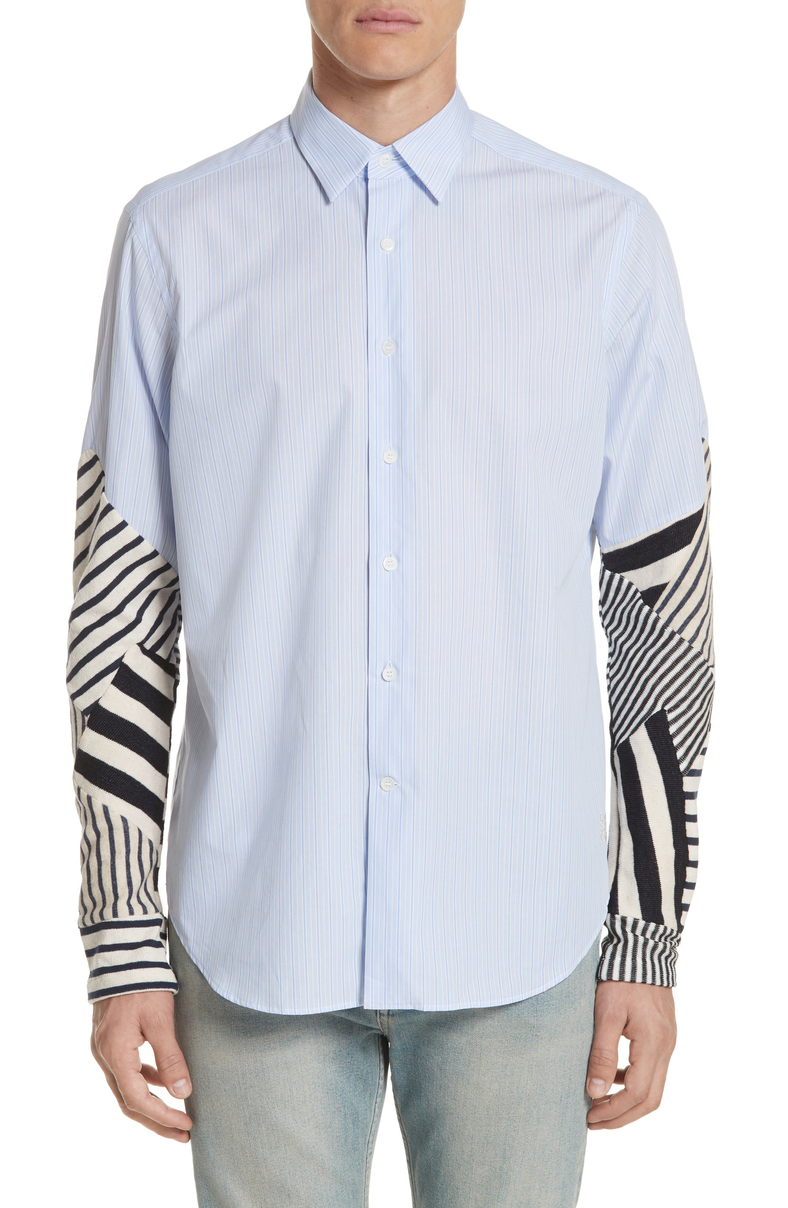 Patchwork Sleeve Shirt,                         Main,                         color, White/ Blue