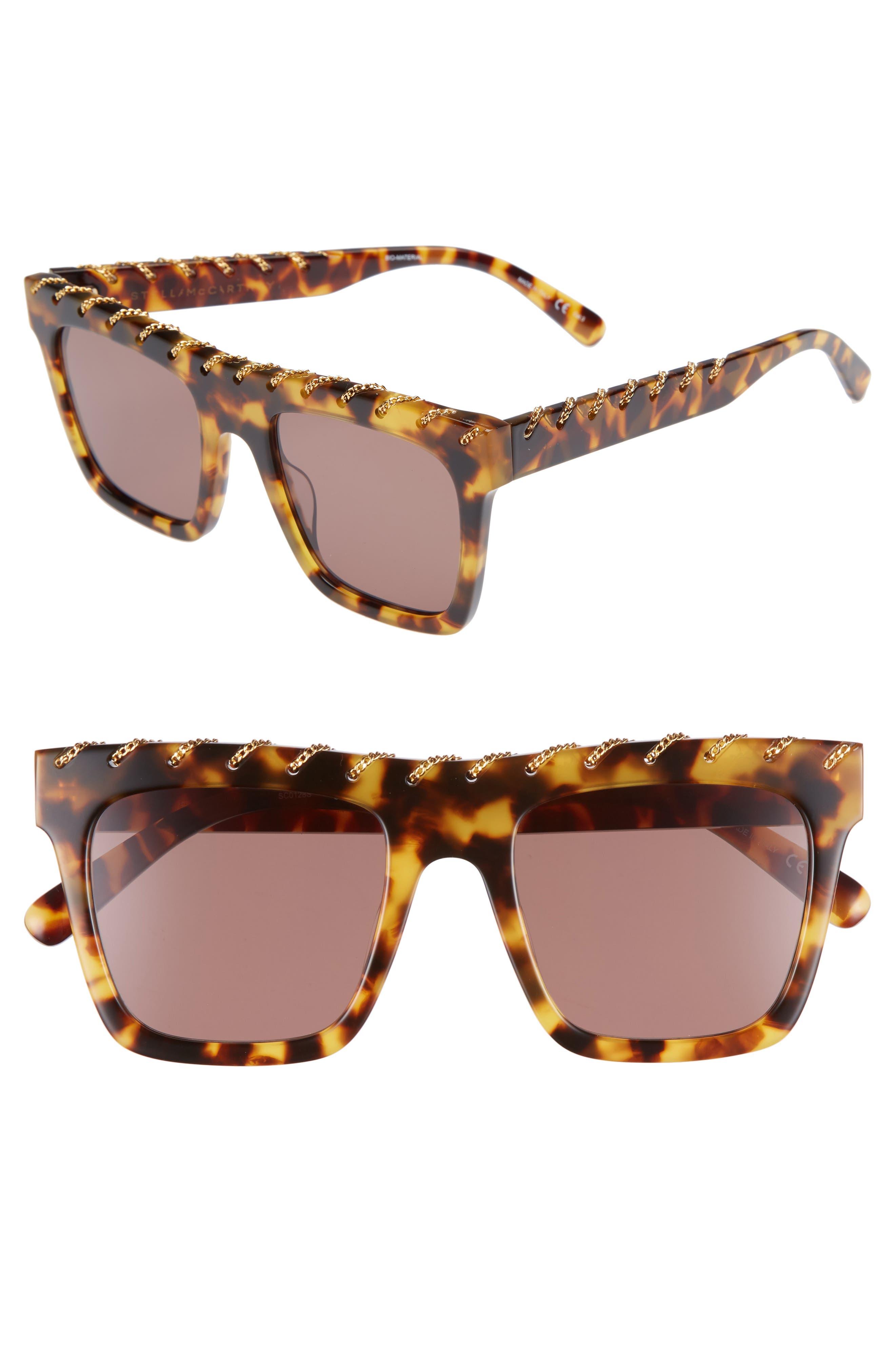 51mm Chain Detail Square Sunglasses,                         Main,                         color, Medium Havana/ Gold