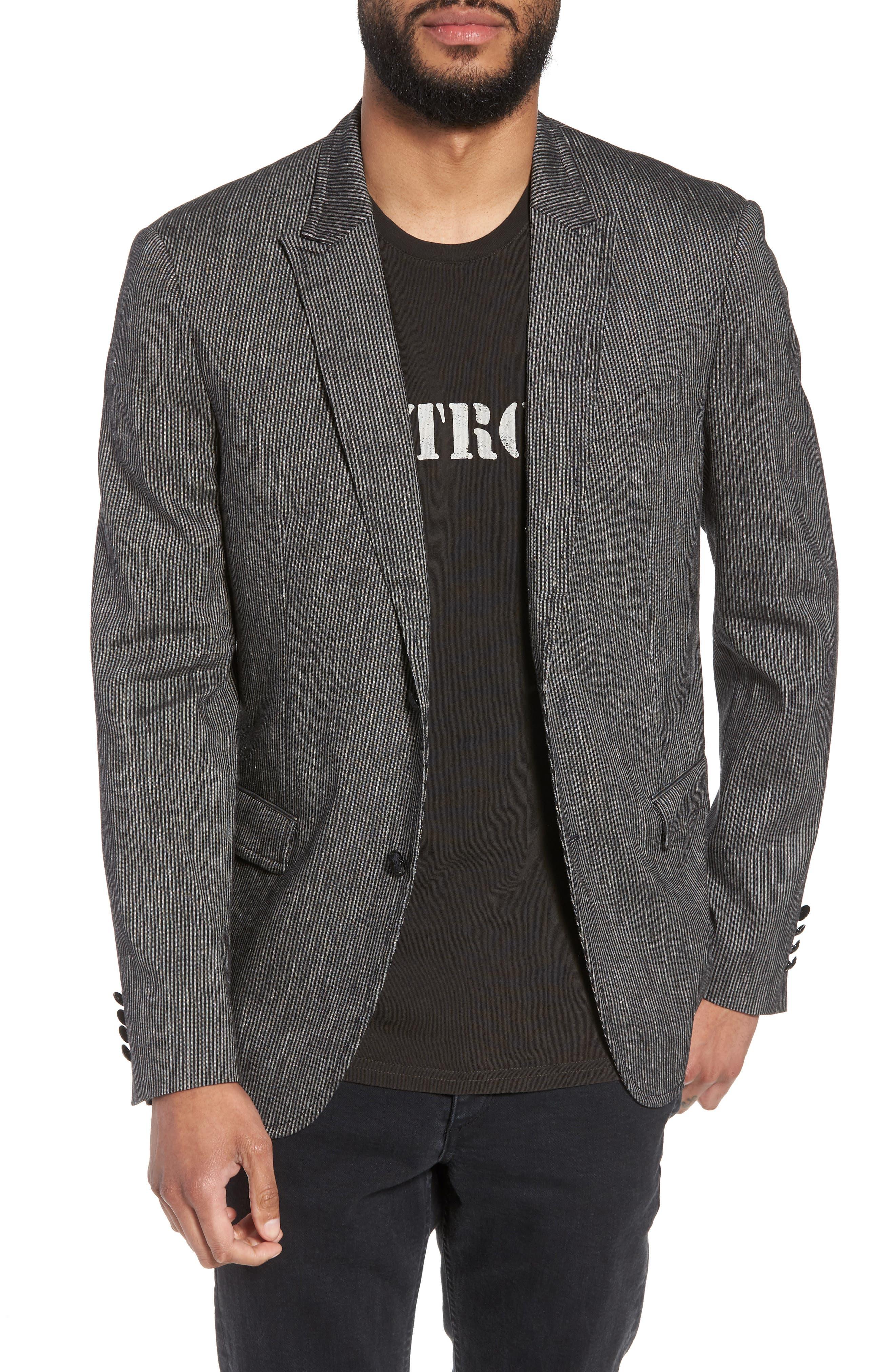 Regular Fit Stretch Stripe Linen Blend Sport Coat,                         Main,                         color, Black/White