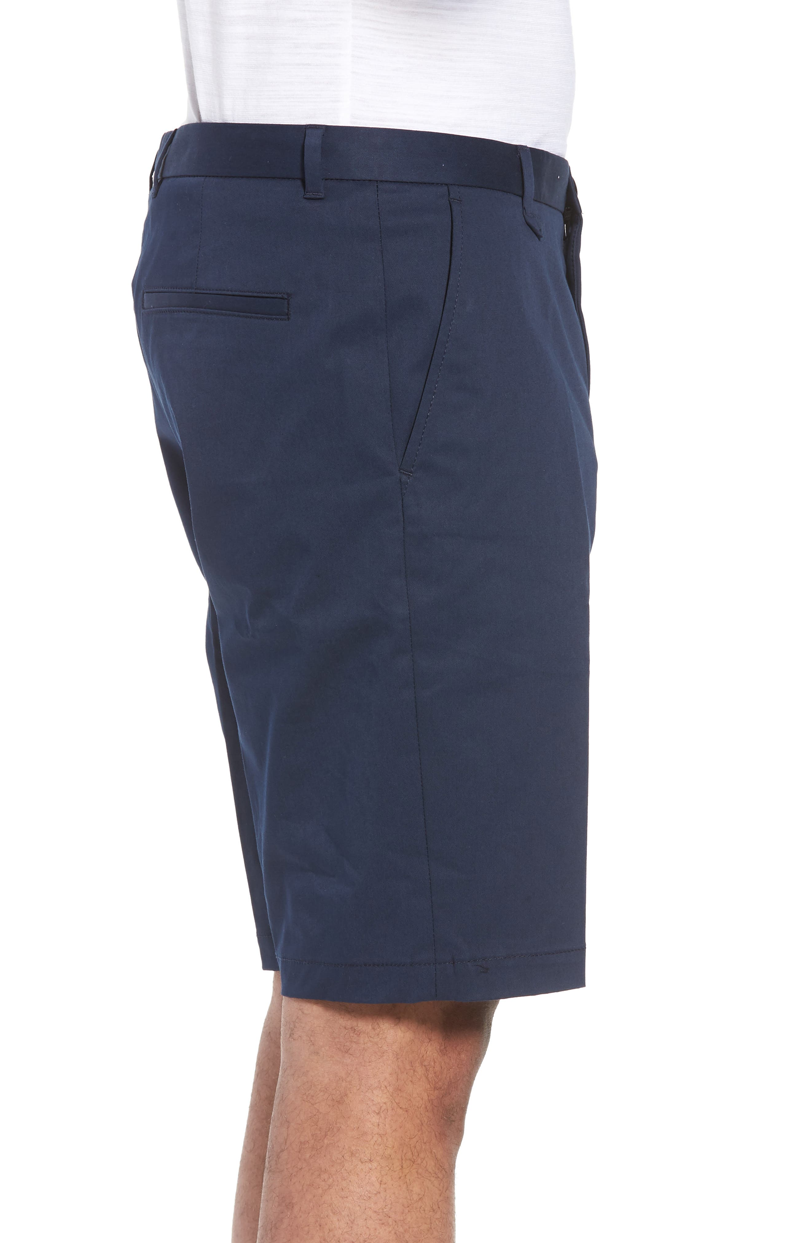 Hano Flat Front Shorts,                             Alternate thumbnail 3, color,                             Blue