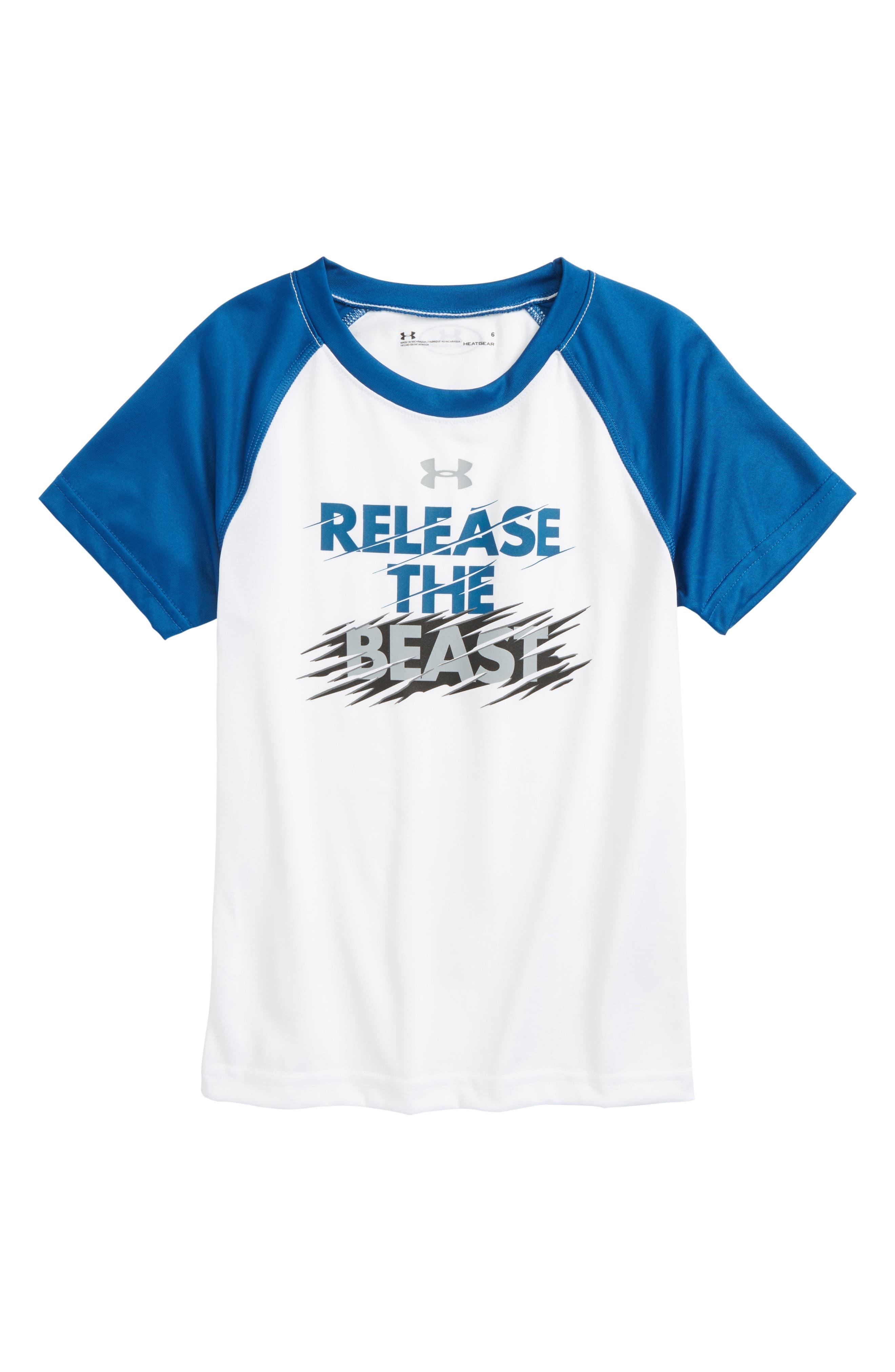 Release the Beast HeatGear<sup>®</sup> T-Shirt,                         Main,                         color, White