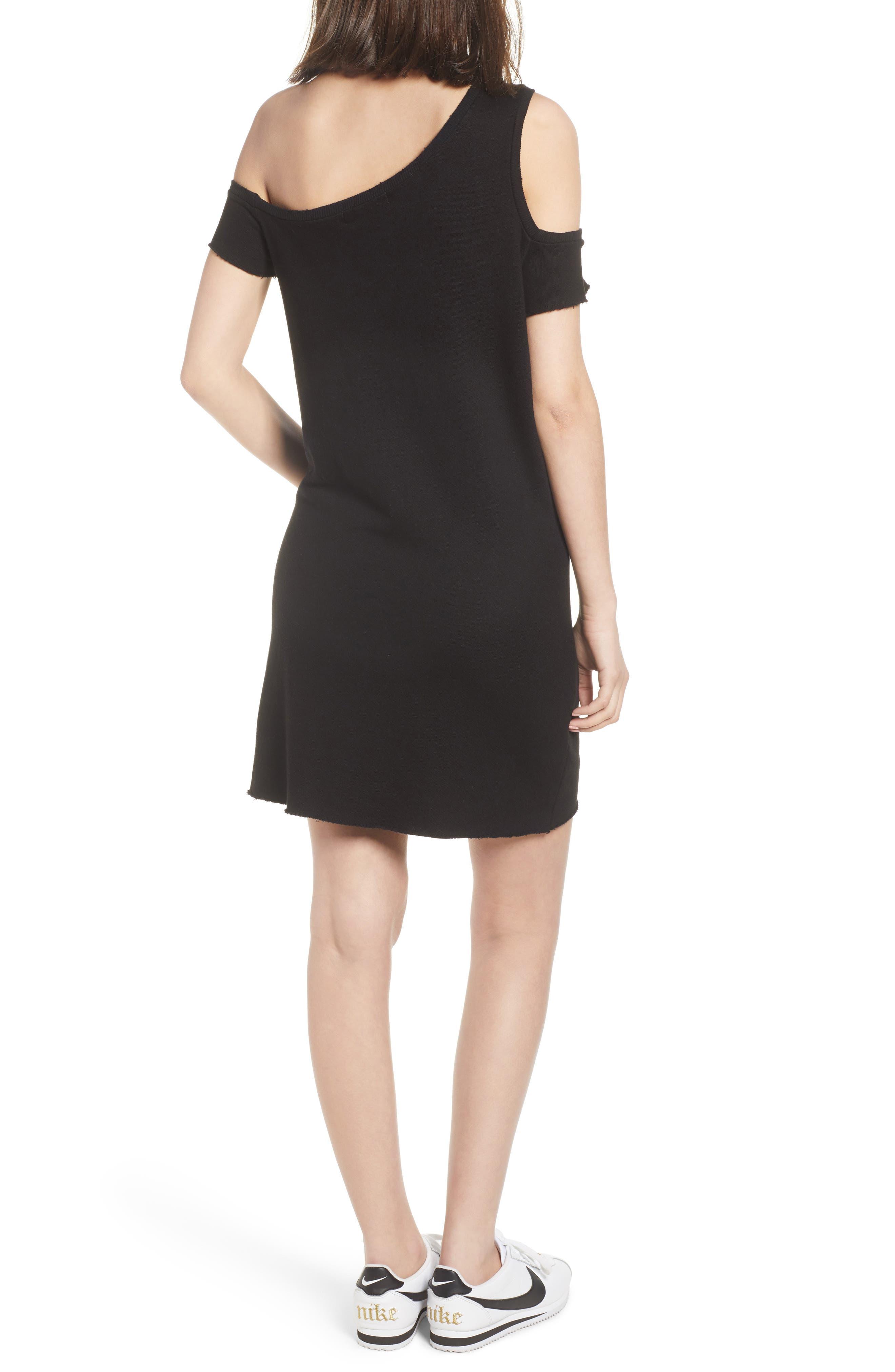Camino One-Shoulder Dress,                             Alternate thumbnail 2, color,                             Black Cat