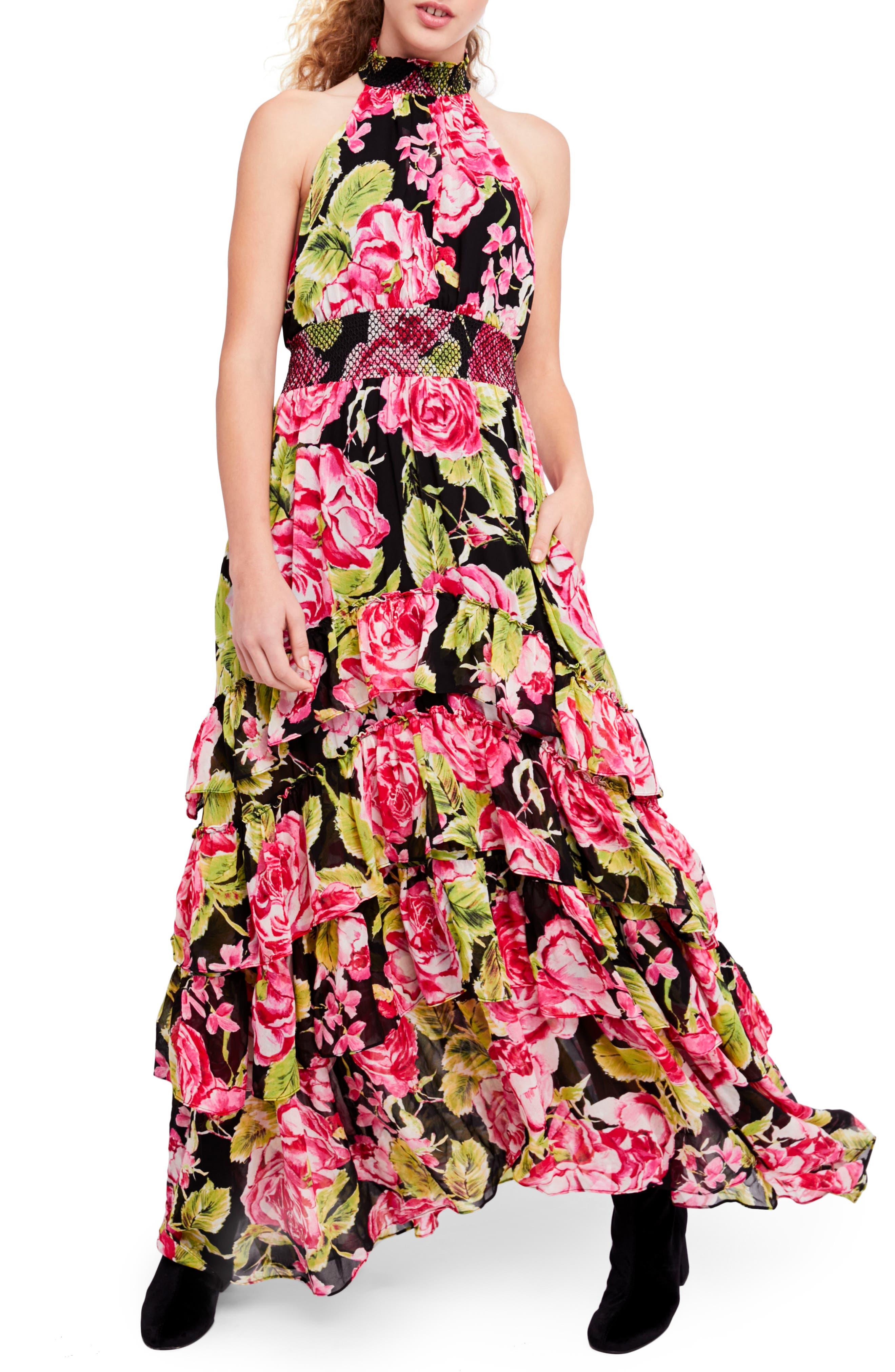 In Full Bloom Halter Maxi Dress,                             Main thumbnail 1, color,                             Black Combo